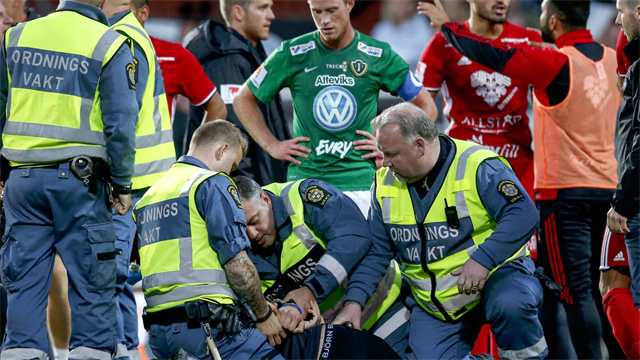 Шведский фанат сорвал матч нанеся травму вратарю