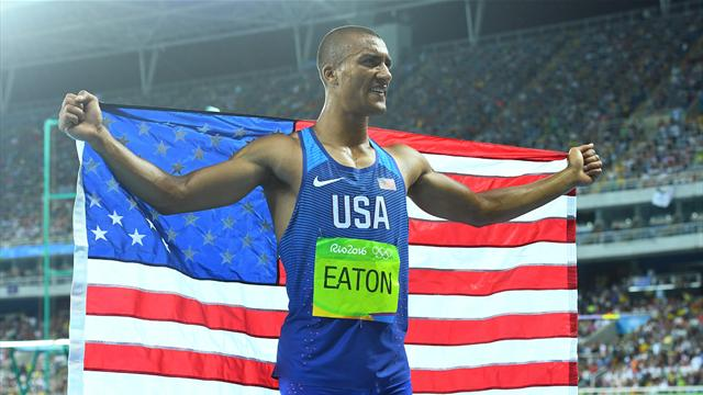 Ashton Eaton defends Olympic decathlon title
