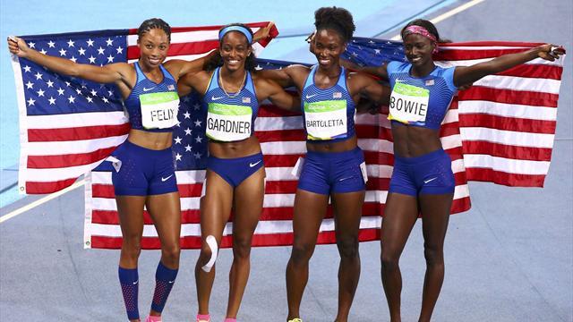 US win women's 4x100m relay, GB take bronze