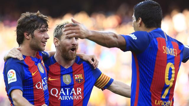 Suarez plunders hat-trick, Messi scores twice as Barca smash six past Betis