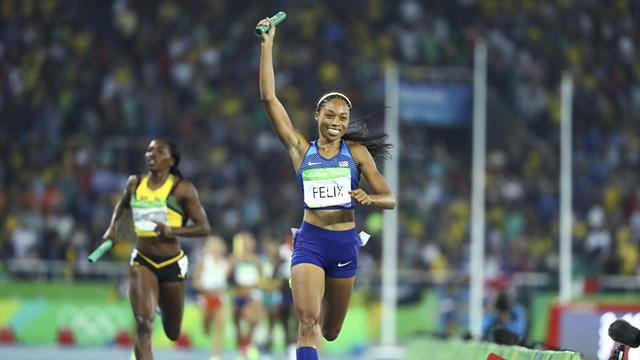 Felix wins sixth gold as US win 4x400m relay, GB take bronze