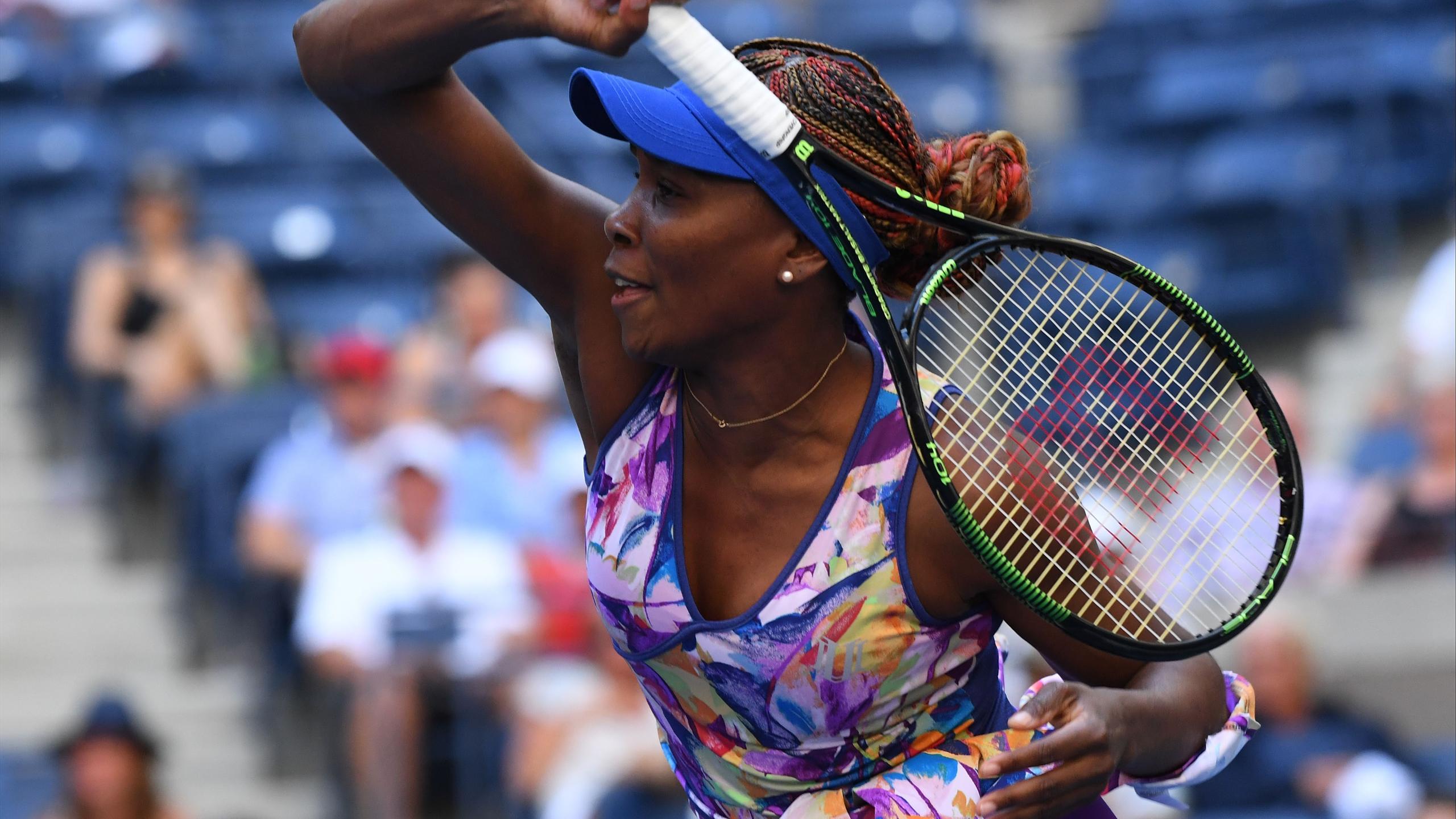 Venus Williams of the USA hits to Kateryna Kozlova of Ukraine