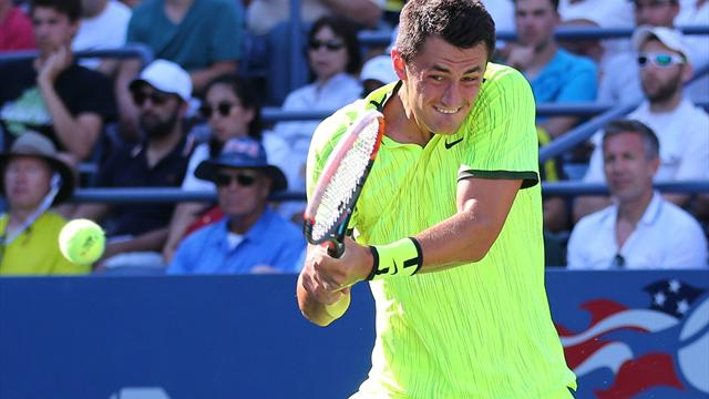 Tomic lets rip with X-rated blast as he loses in US Open first round