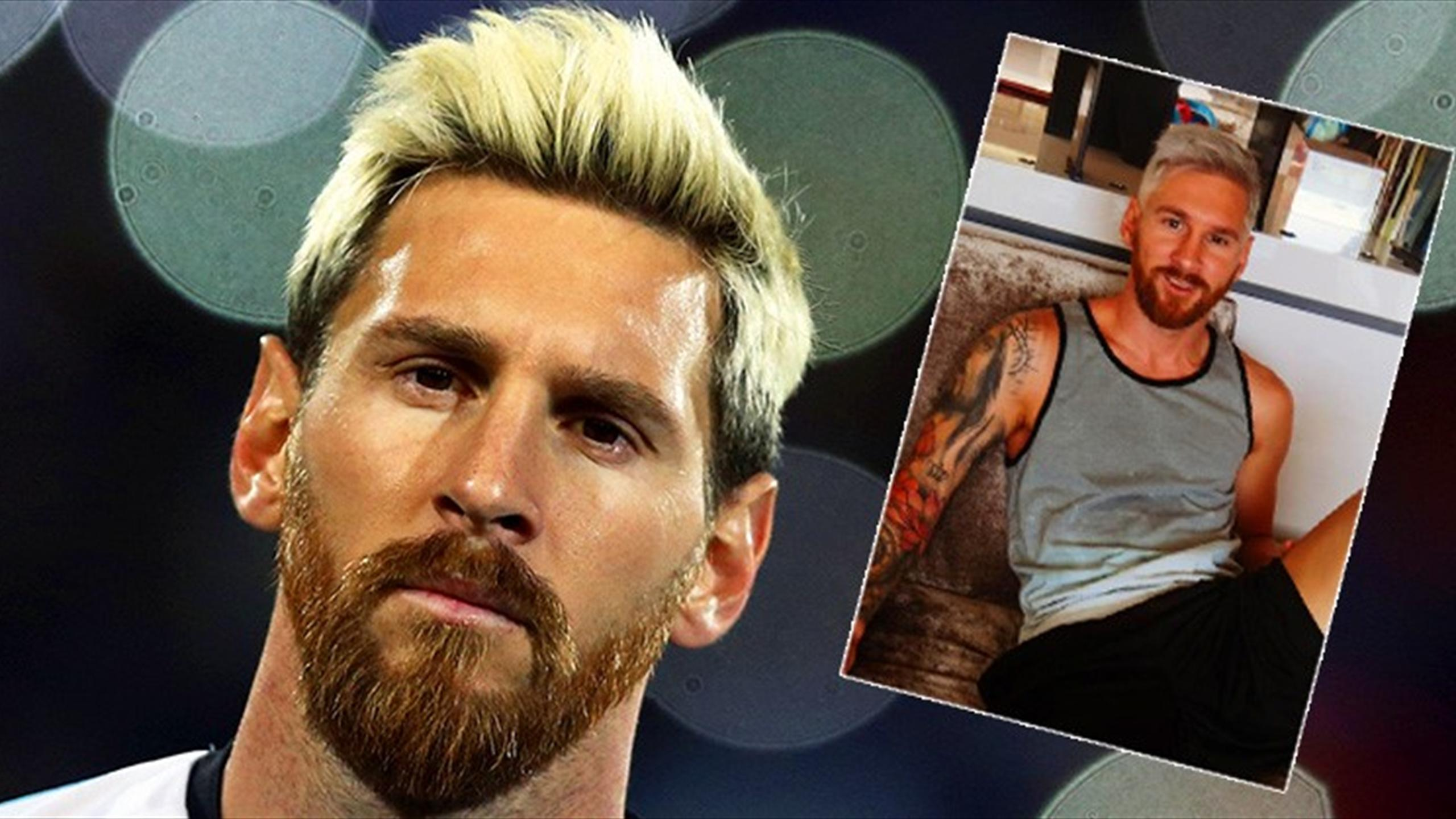 Lionel Messi and his bleached blond hair
