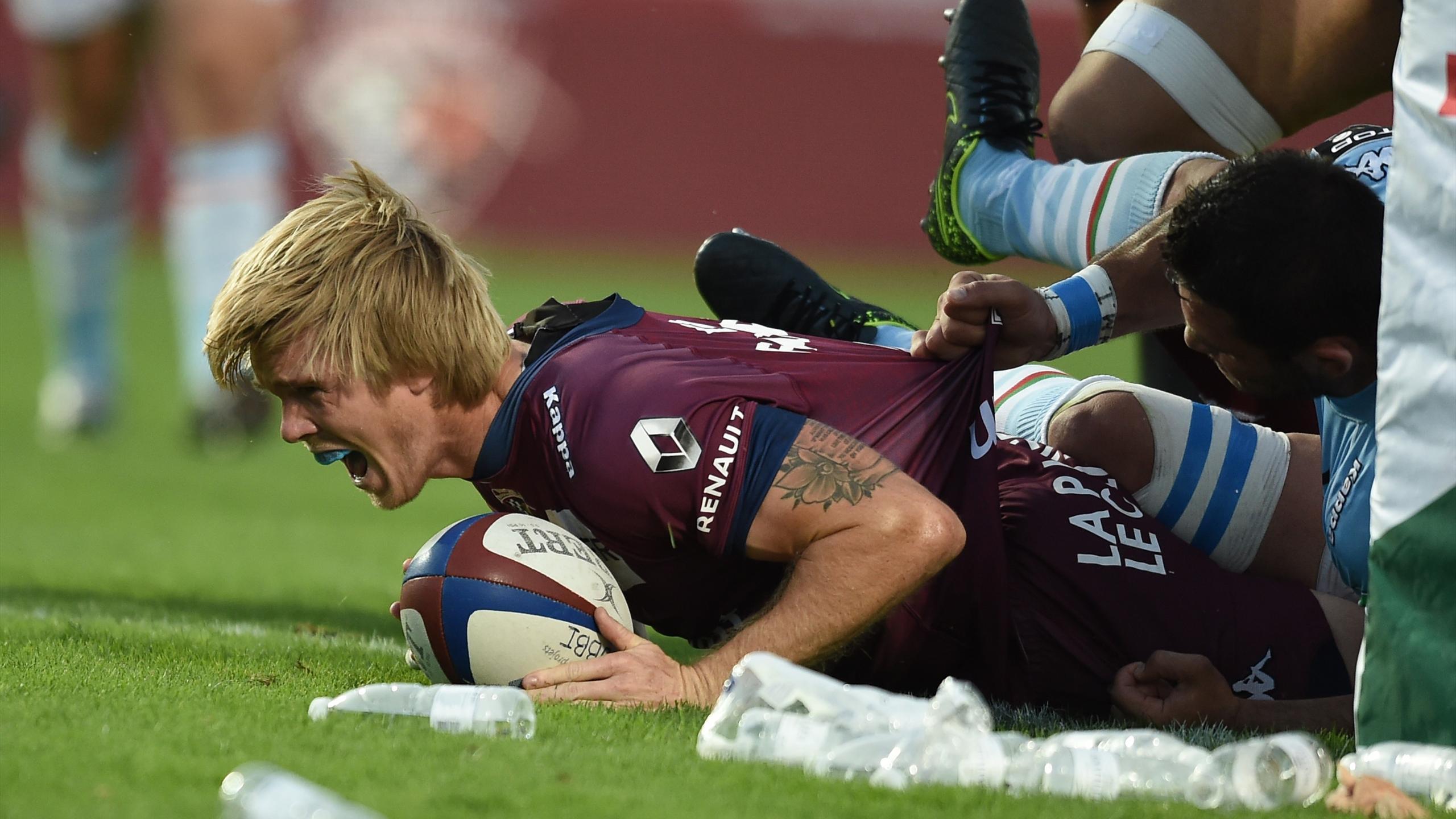 La joie de Blair Connor (Bordeaux-Bègles) lors de son essai contre Bayonne - 10 septembre 2016