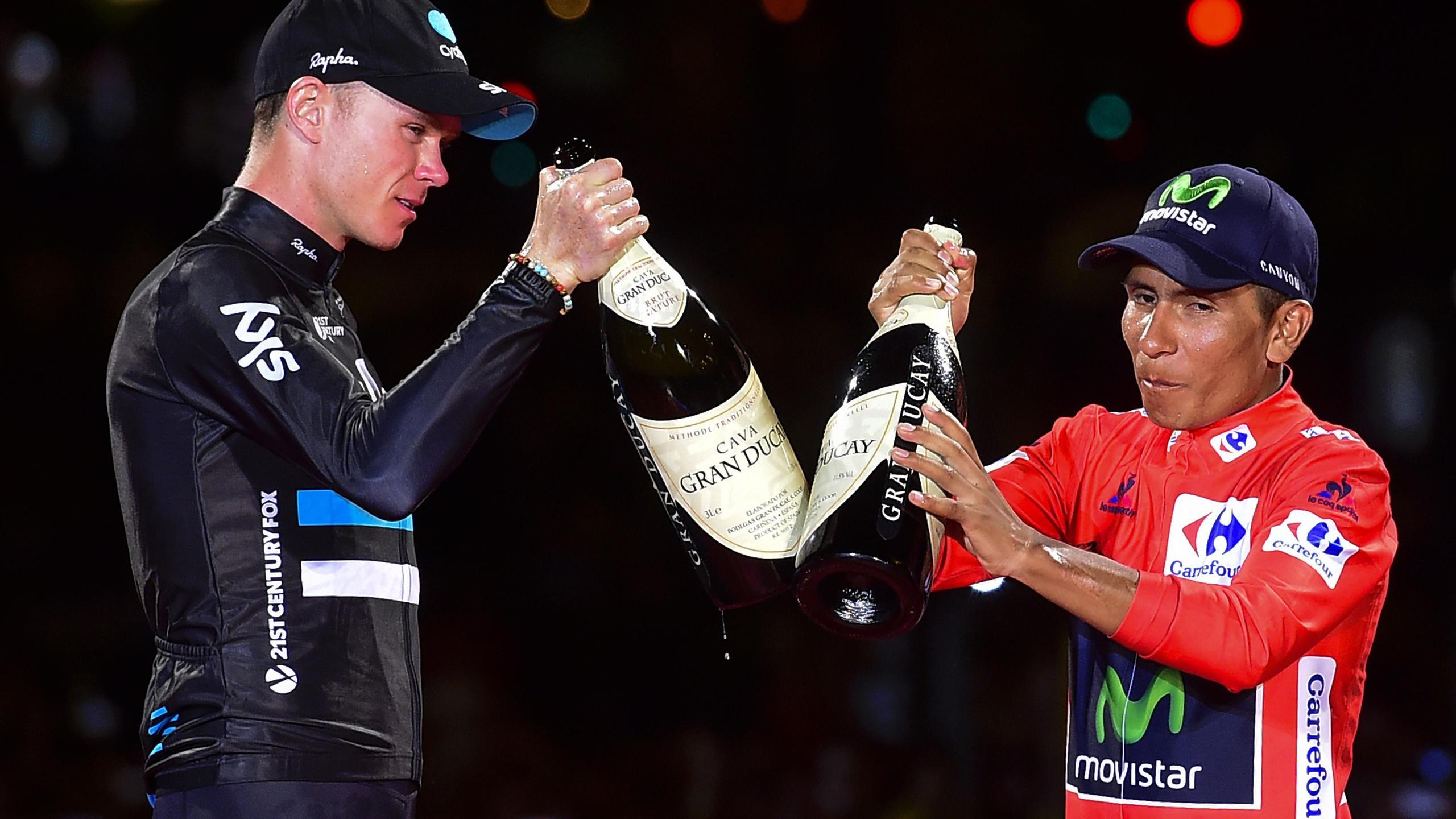 Nairo Quintana and Chris Froome atop the podium