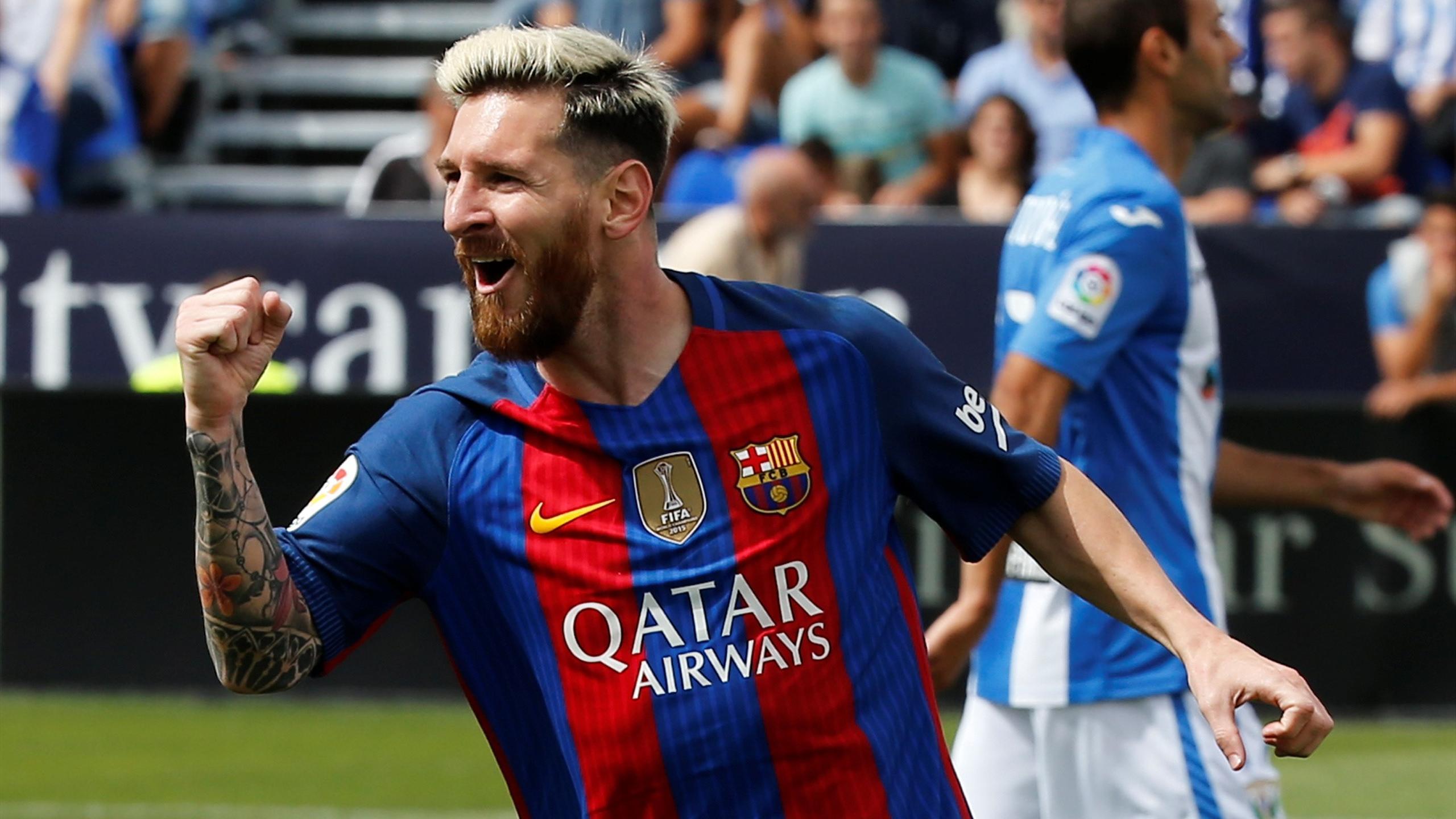 Barcelona's Lionel Messi cerebrates scoring a goal against Leganes