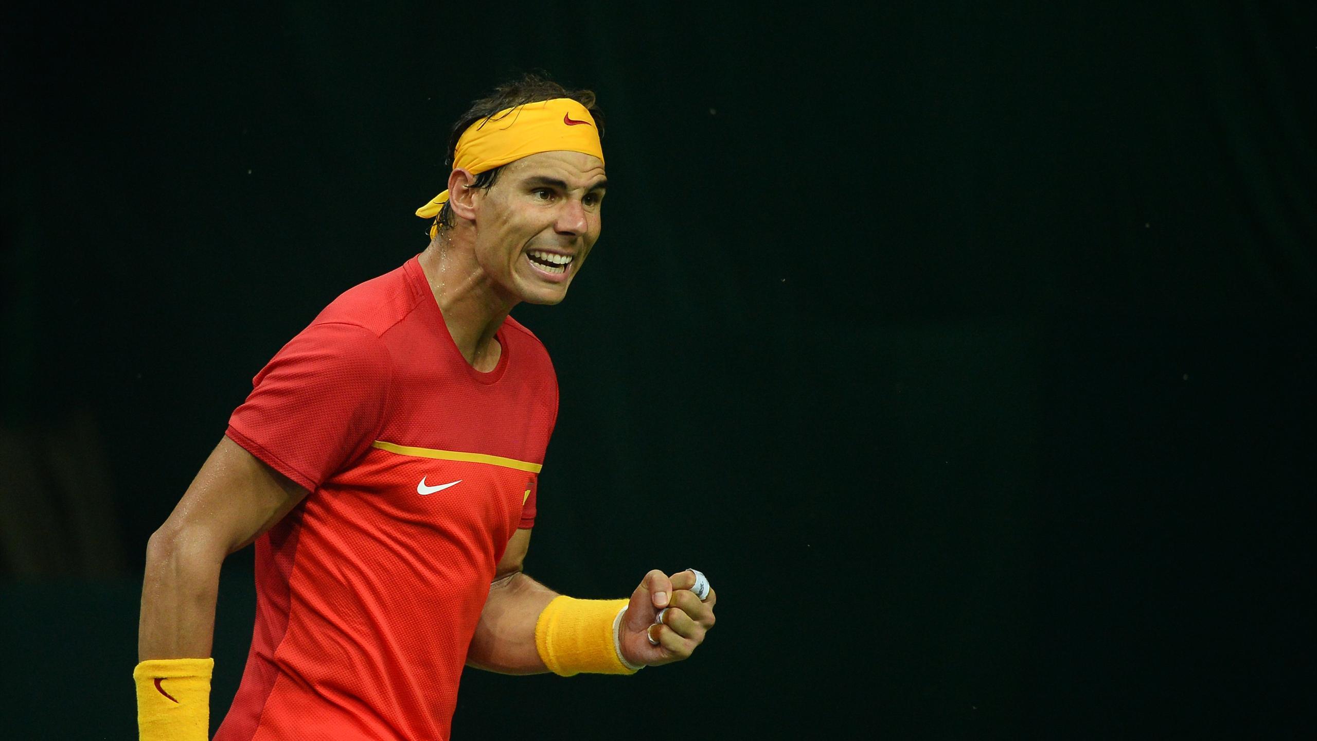 Rafa Nadal celebra un punto en Copa Davis