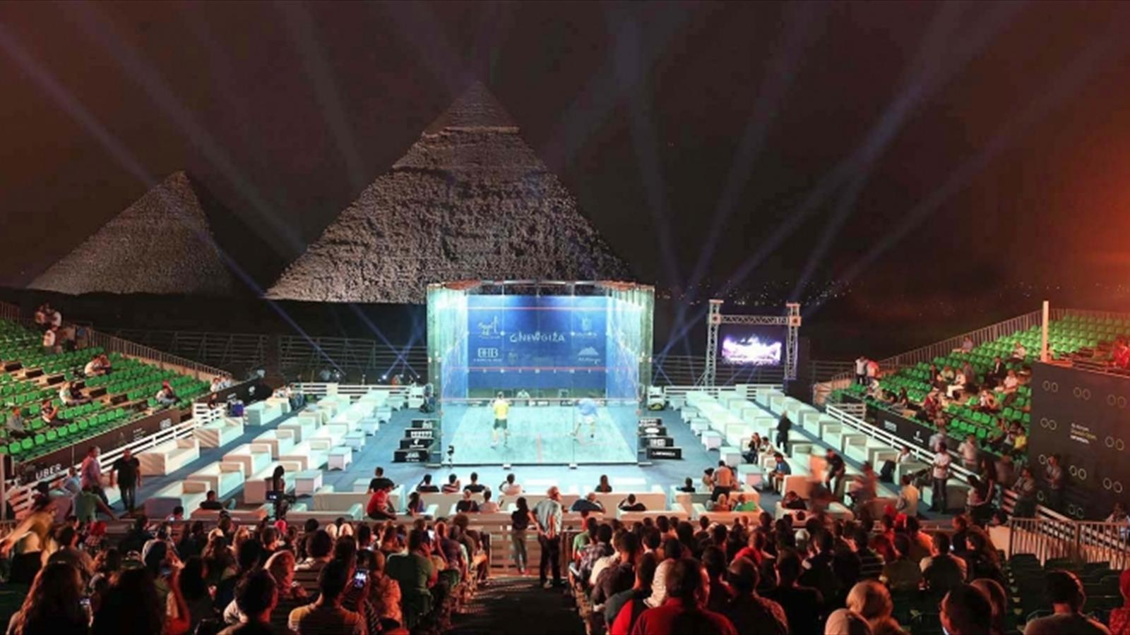 Elshorbagy and El Sherbini through to quarter-finals in front of Great Pyramid of Giza - Squash ...