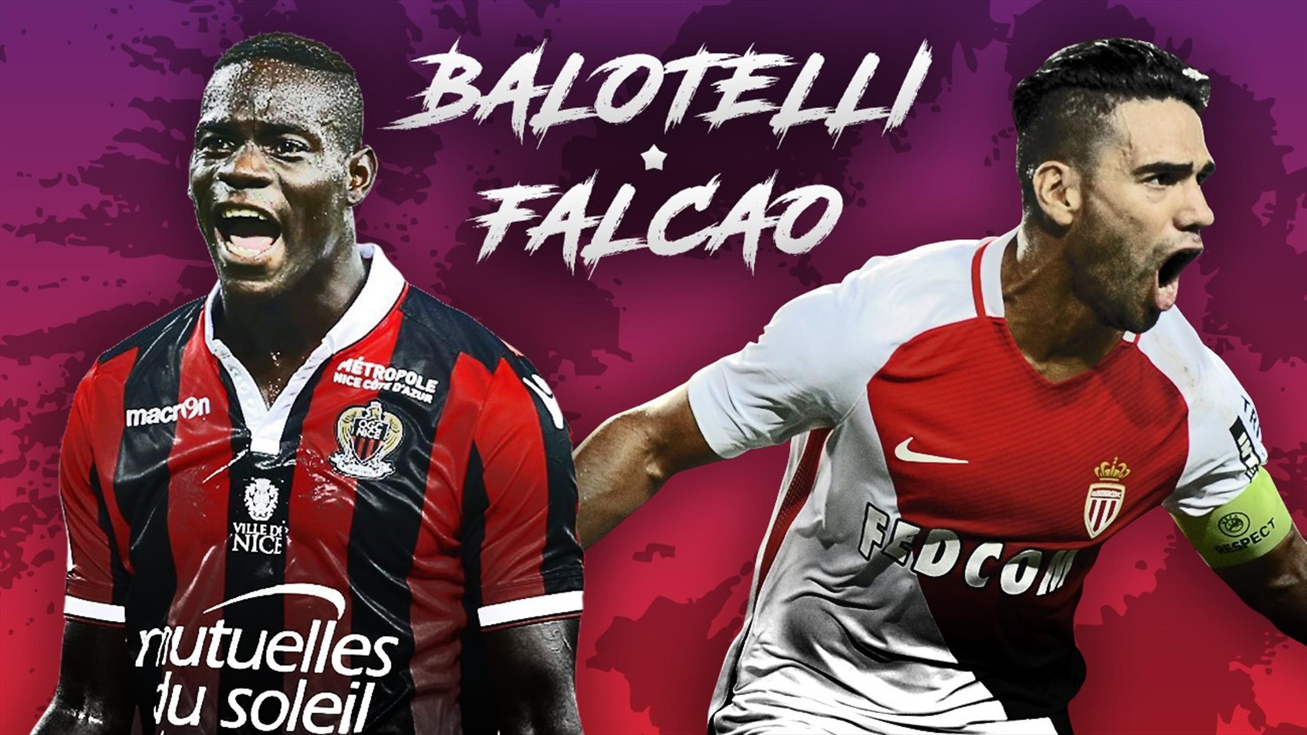 Balotelli et Falcao avant Nice-Monaco