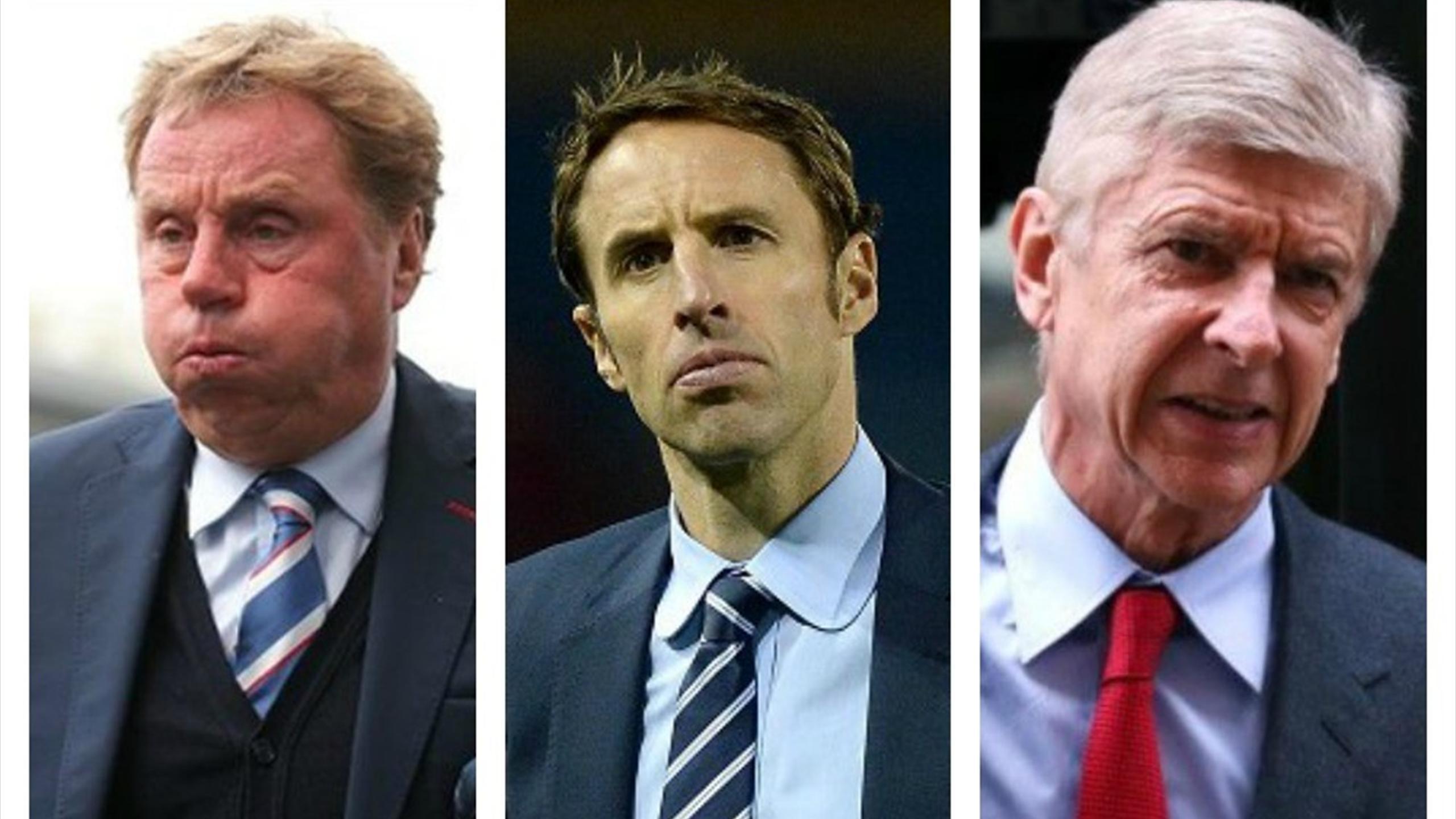 Harry Redknapp, Gareth Southgate and Arsene Wenger