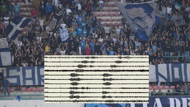 """Napoli: urlo """"The Champions"""" registrato dal sismografo dell'Osservatorio del Vesuvio"""