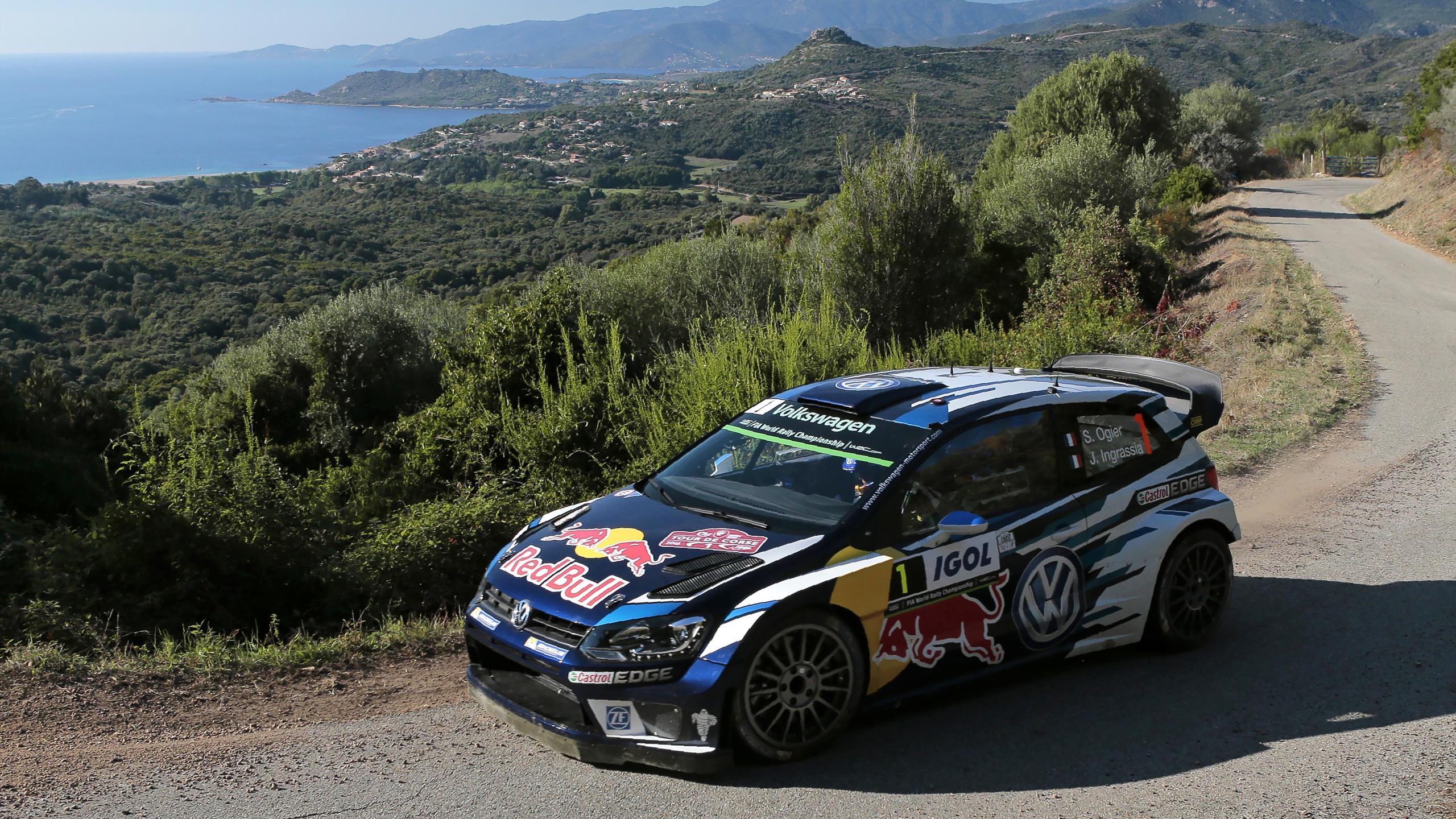 Volkswagen's Sebastien Ogier en route to Corsica WRC victory