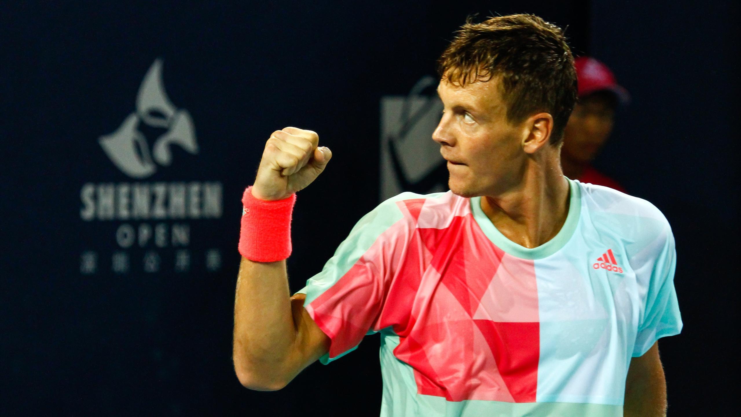 Tomas Berdych of Czech Republic celebrates after winning the Shenzhen Open