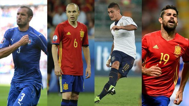 Chiellini, Iniesta, Verratti, Diego Costa : le meilleur onze d'Italie-Espagne