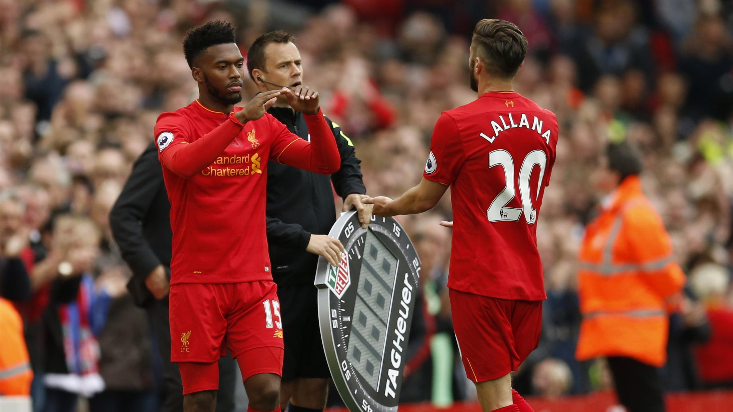 Liverpool's Daniel Sturridge comes on as a substitute to replace Adam Lallana
