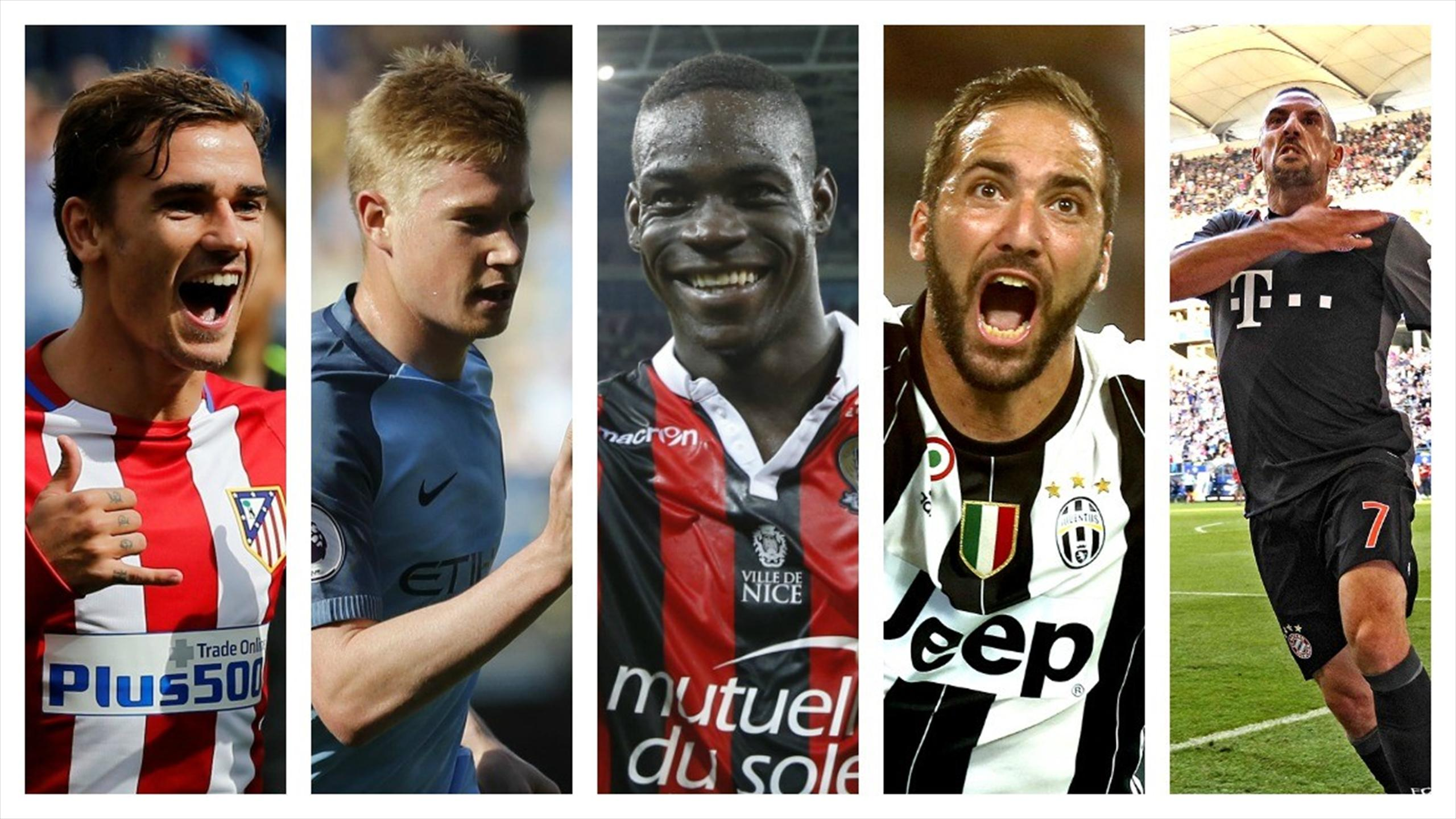 Antoine Griezmann, Kevin De Bruyne, Mario Balotelli, Gonzalo Higuain, Franck Ribery