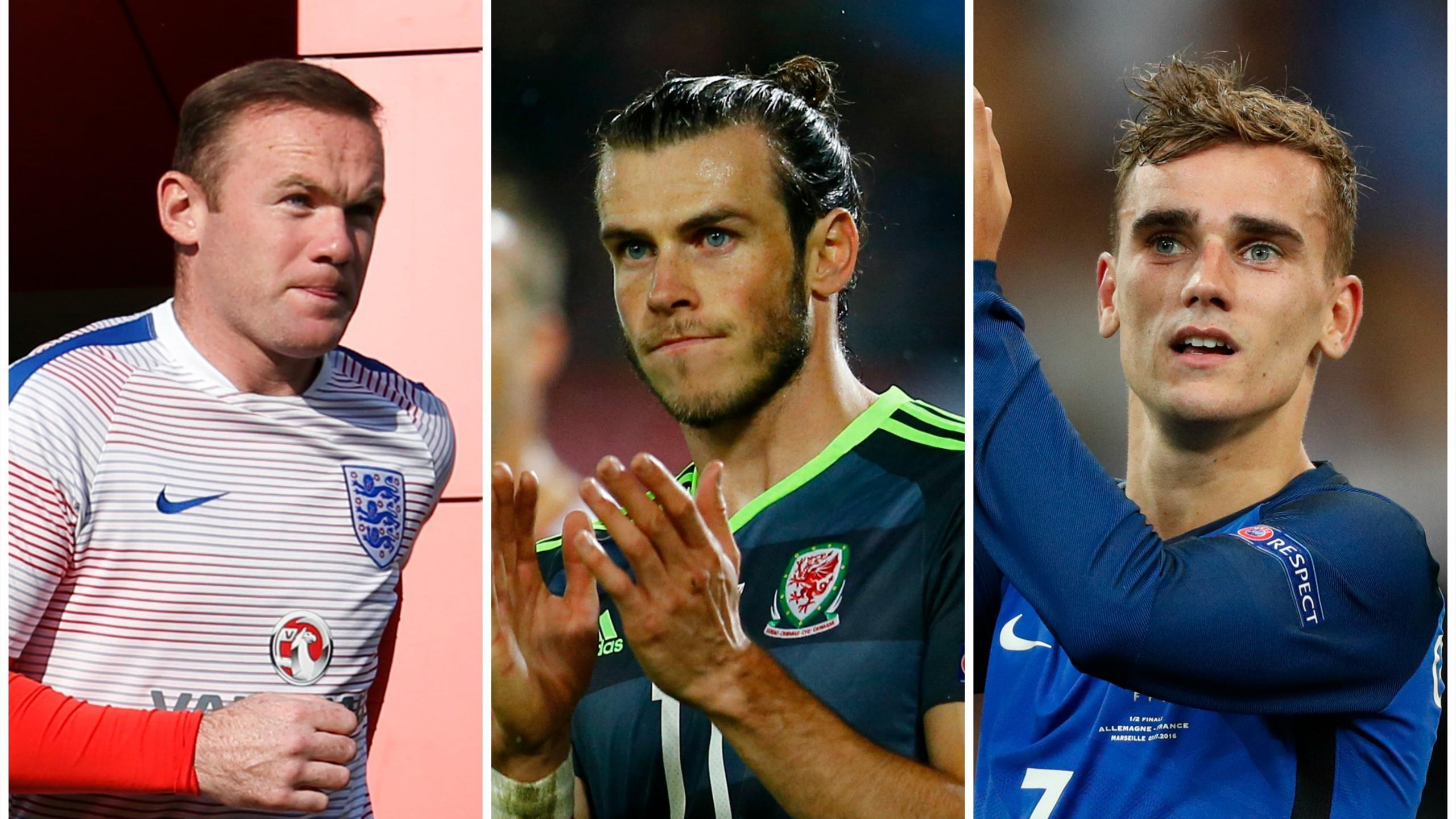 Wayne Rooney, Gareth Bale and Antoine Griezmann