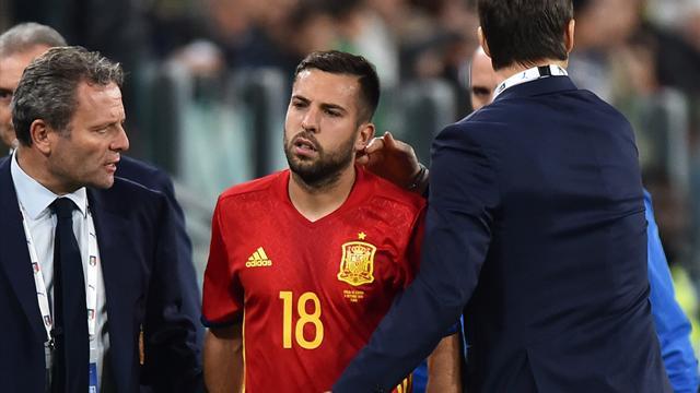 Jordi Alba estará 10 días ausente por lesión muscular