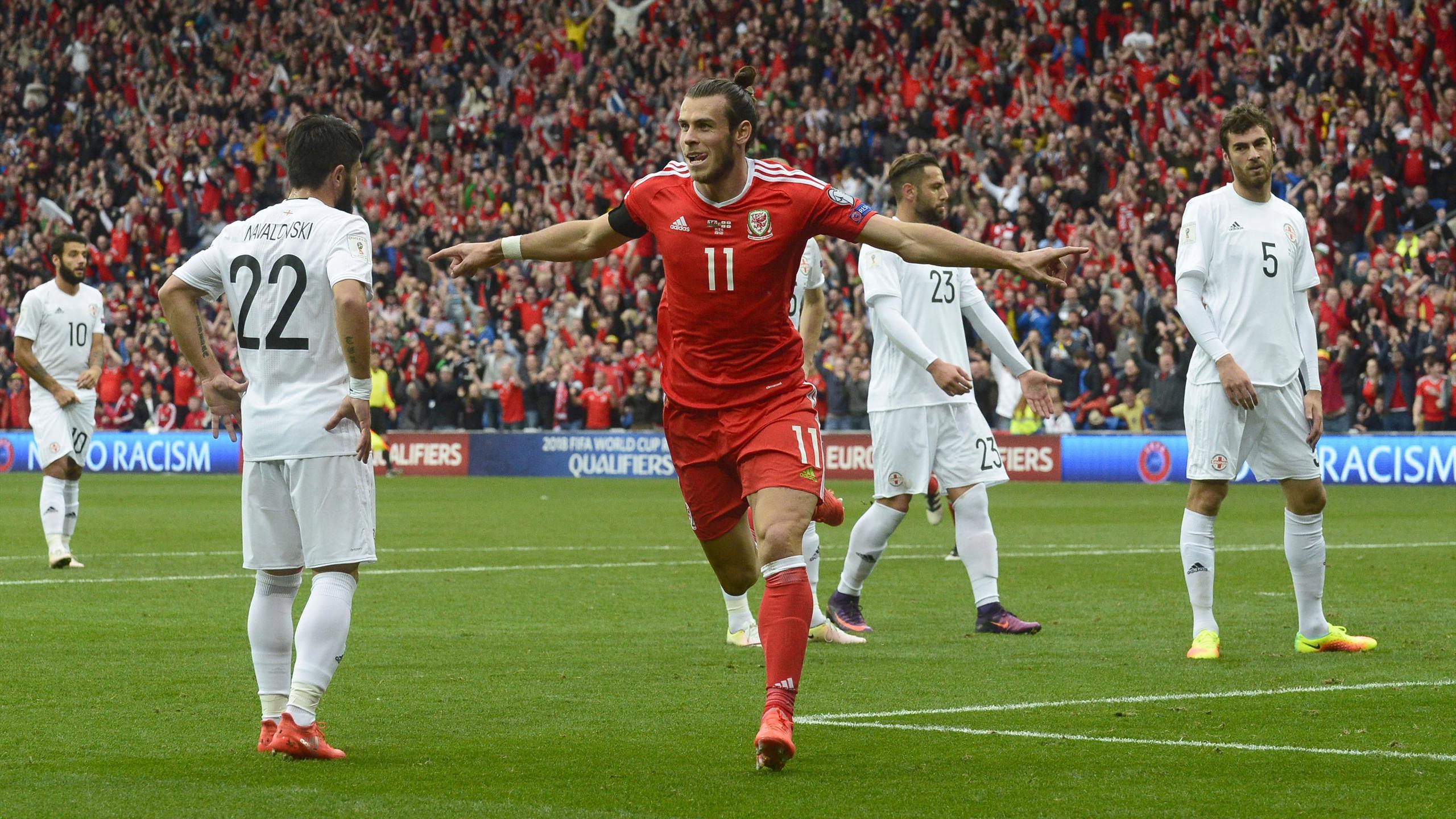 Wales' Gareth Bale celebrates scoring against Georgia