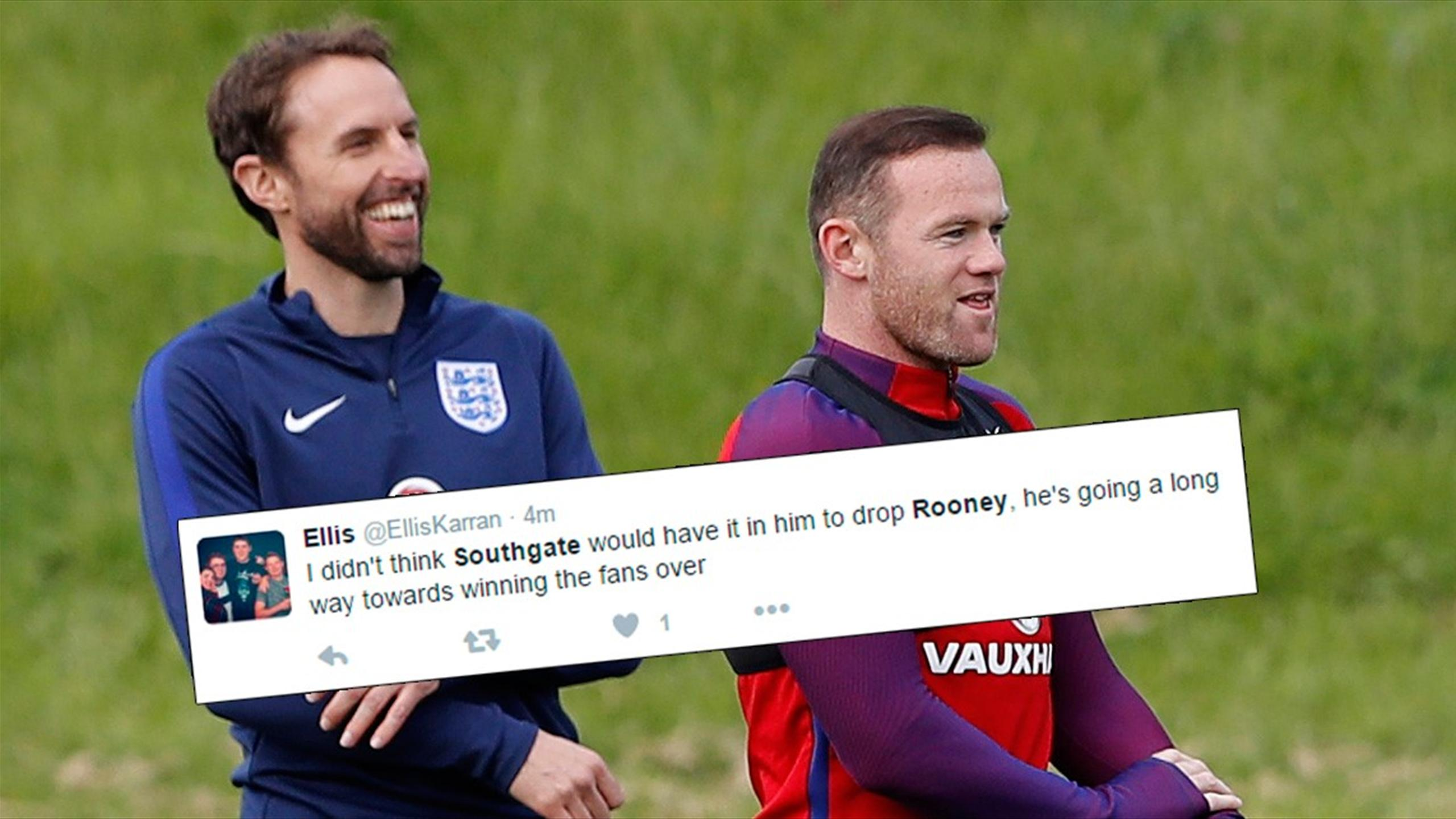 Twitter reaction to England boss Gareth Southgate dropping Wayne Rooney