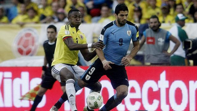 Suárez cumple pero Uruguay se deja el primer puesto ante Colombia (2-2)