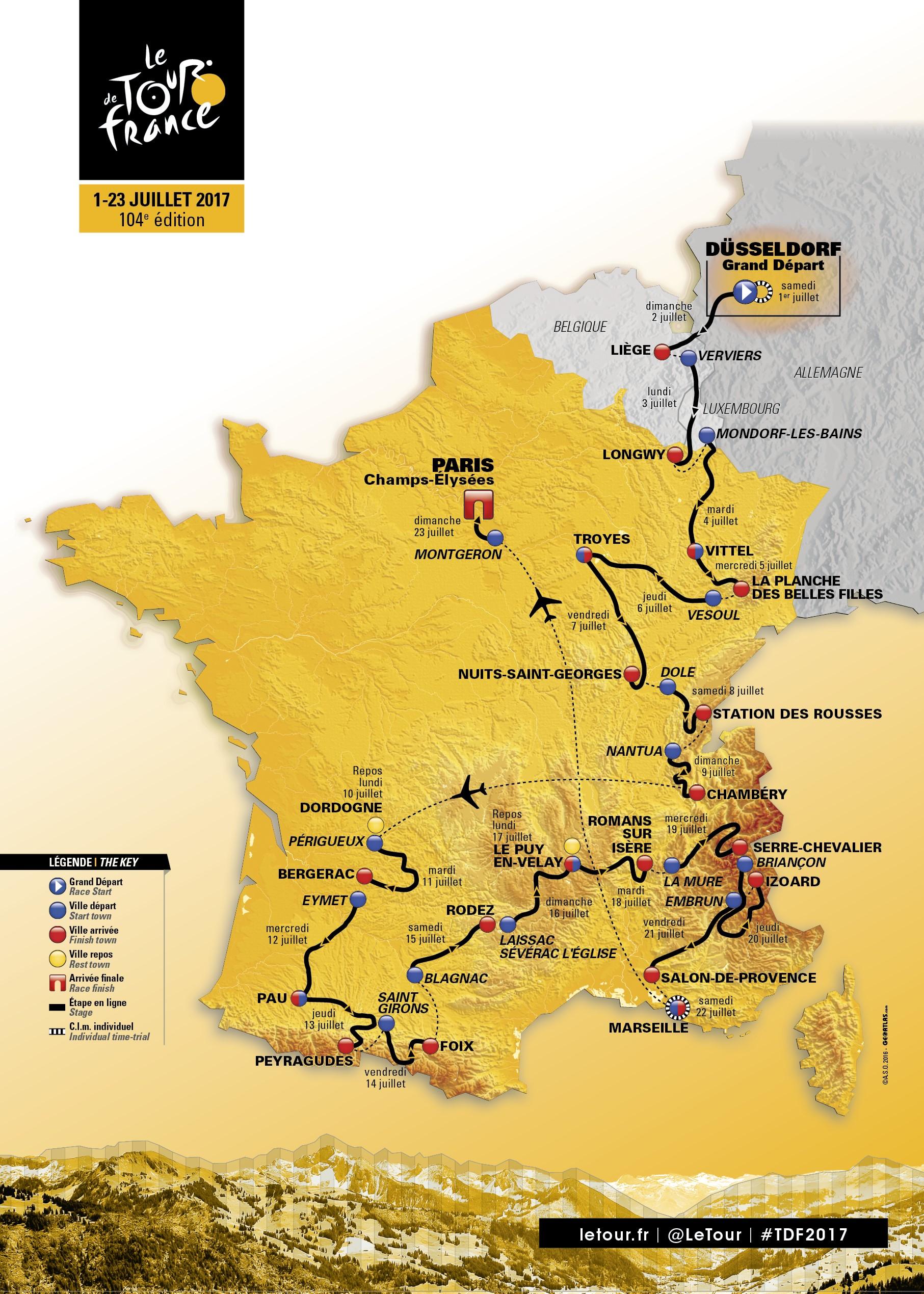 Die Strecke der Tour de France 2017