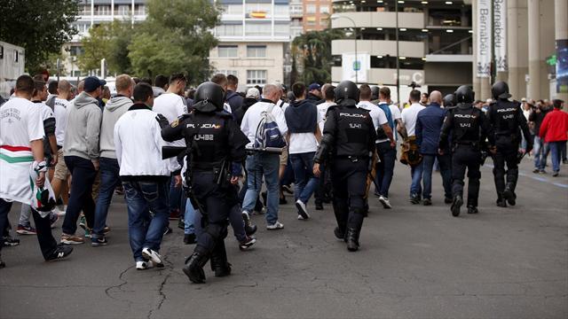 Siete heridos, agresiones de los ultras a la Policía y otros incidentes antes del Real Madrid-Legia