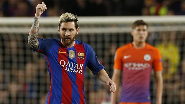a259d797e2c Barcelona s Lionel Messi celebrates scoring their first goal against Manchester  City