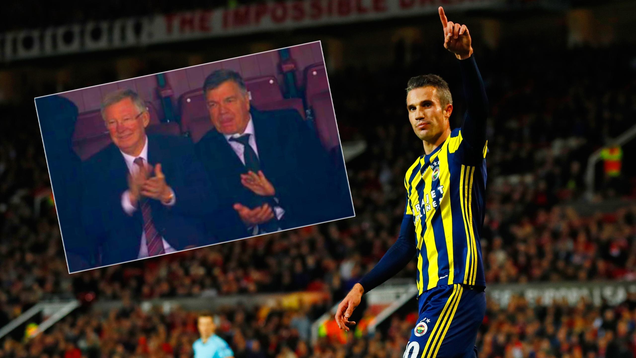 Sir Alex Ferguson and Sam Allardyce applaud Robin van Persie scoring for Fenerbahce against Manchester United