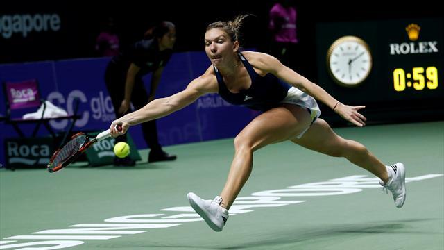 Kerber beats Cibulkova as Halep unlocks Keys to open WTA Finals