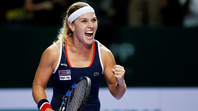 Cibulkova grinds down Halep to stay alive in Singapore