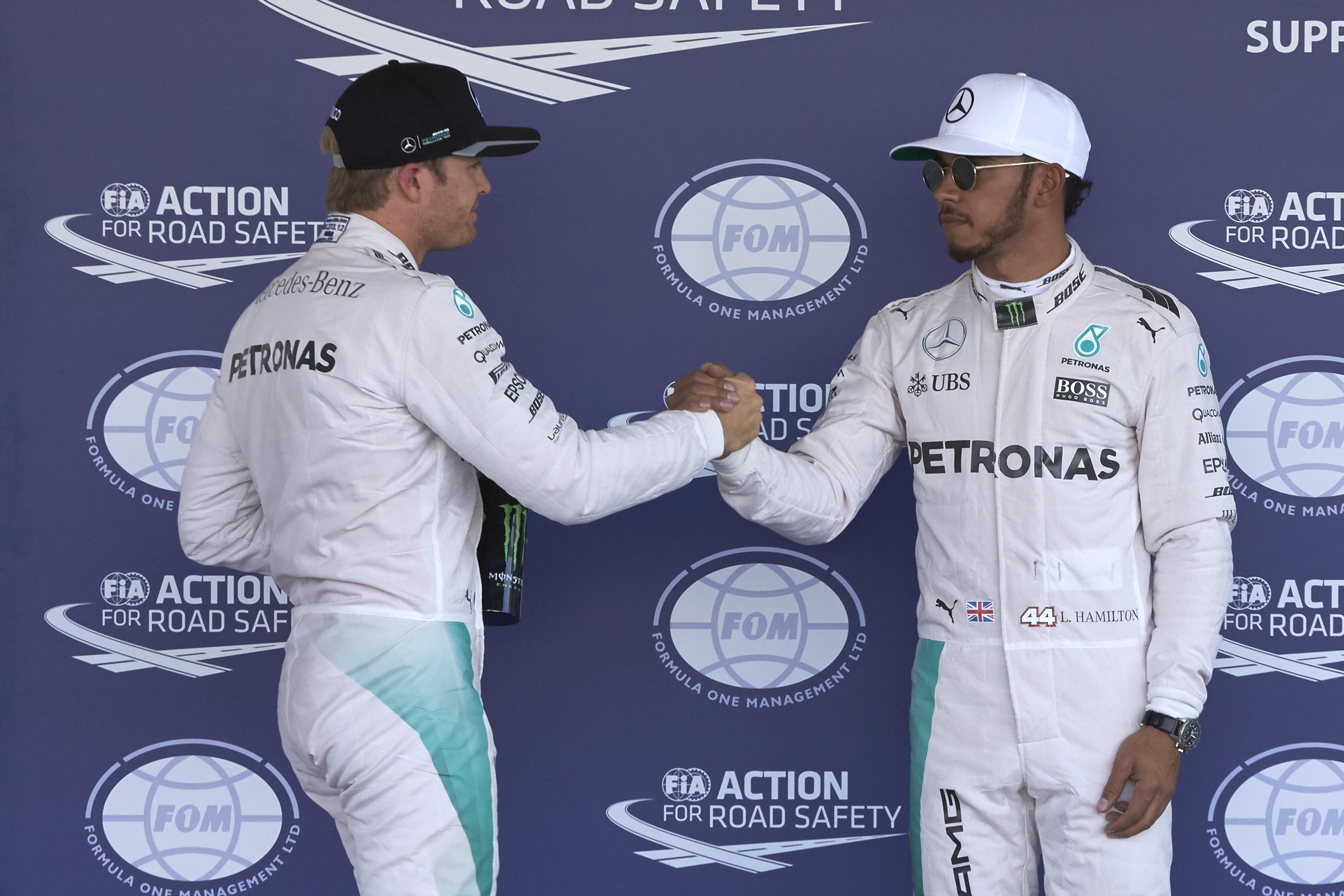 Nico Rosberg et Lewis Hamilton (Mercedes) au Grand Prix du Mexique 2016