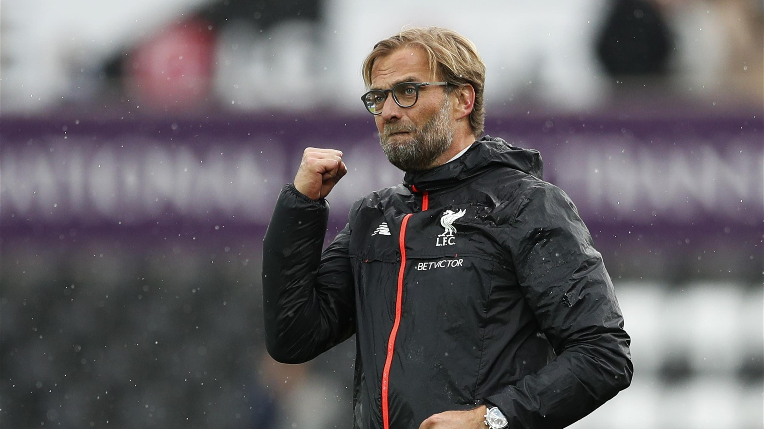 Liverpool manager Juergen Klopp celebrates after the game