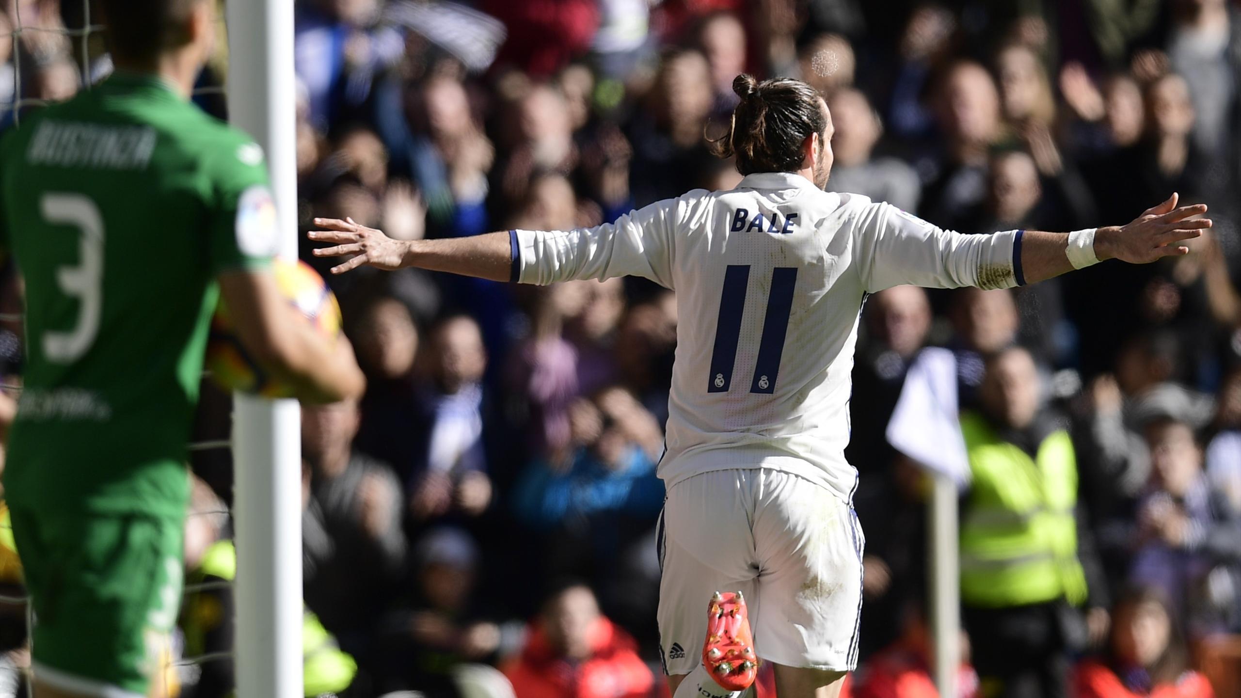Real Madrid's Welsh forward Gareth Bale celebrates after scoring a goal
