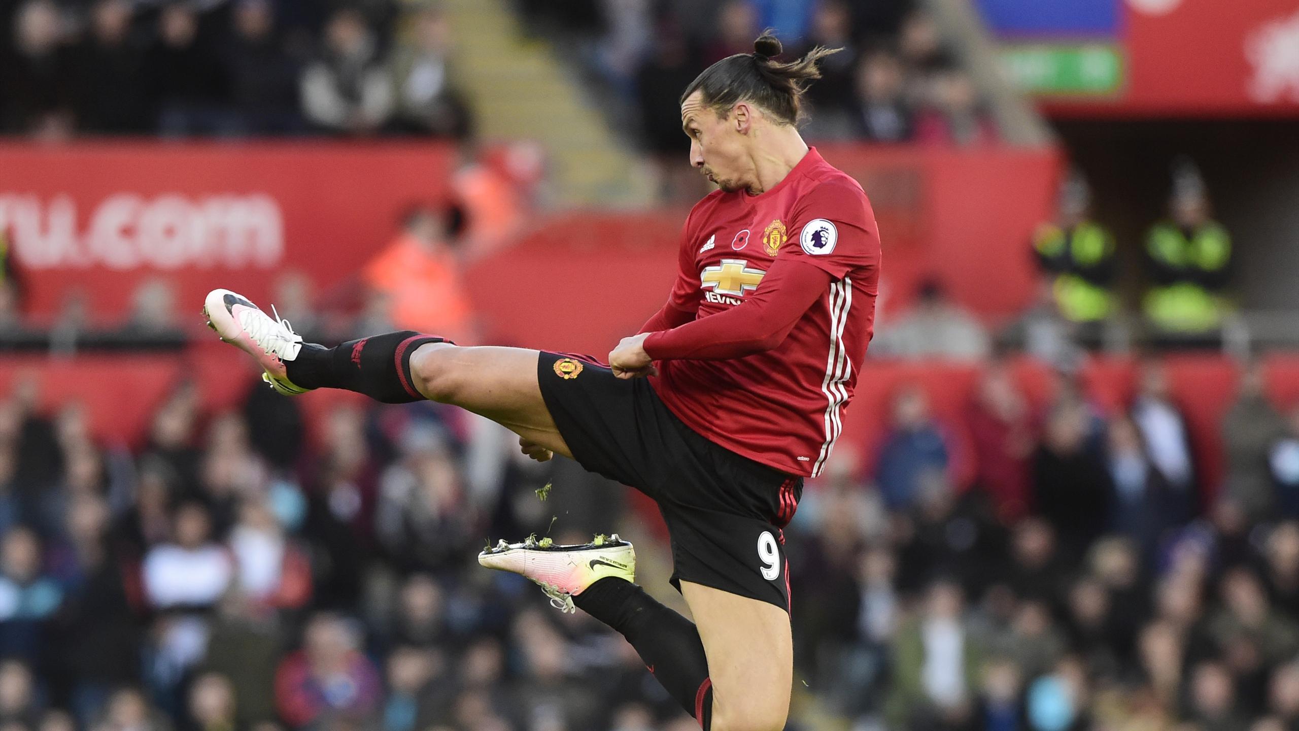 Manchester United's Zlatan Ibrahimovic celebrates scoring their second goal