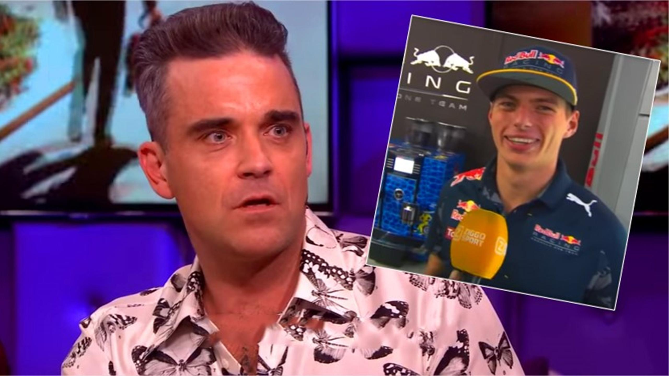 Pop star Robbie Williams gets very awkward proposal from F1's Max Verstappen (Youtube)