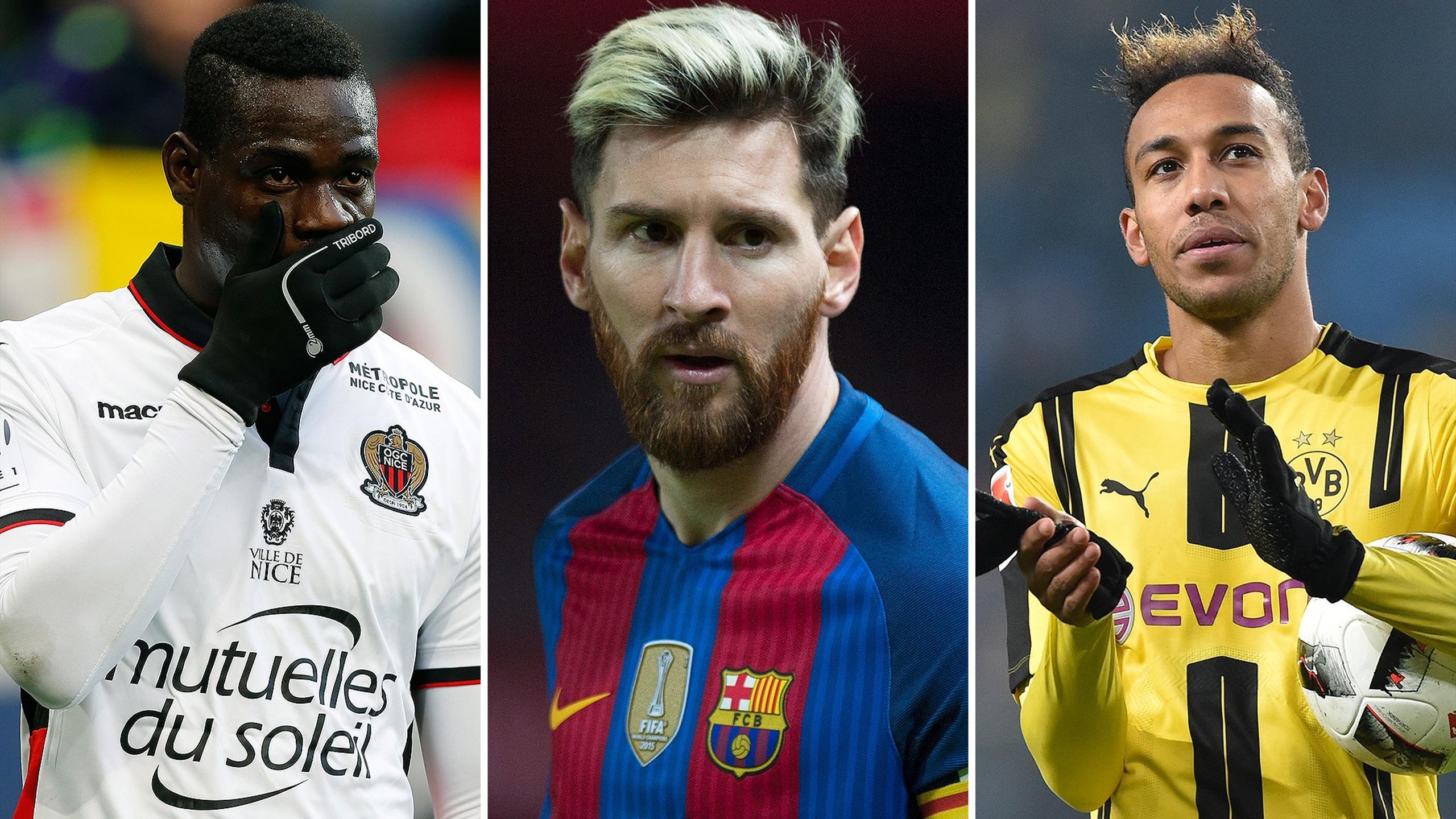 Mario Balotelli, Lionel Messi and Pierre-Emerick Aubameyang
