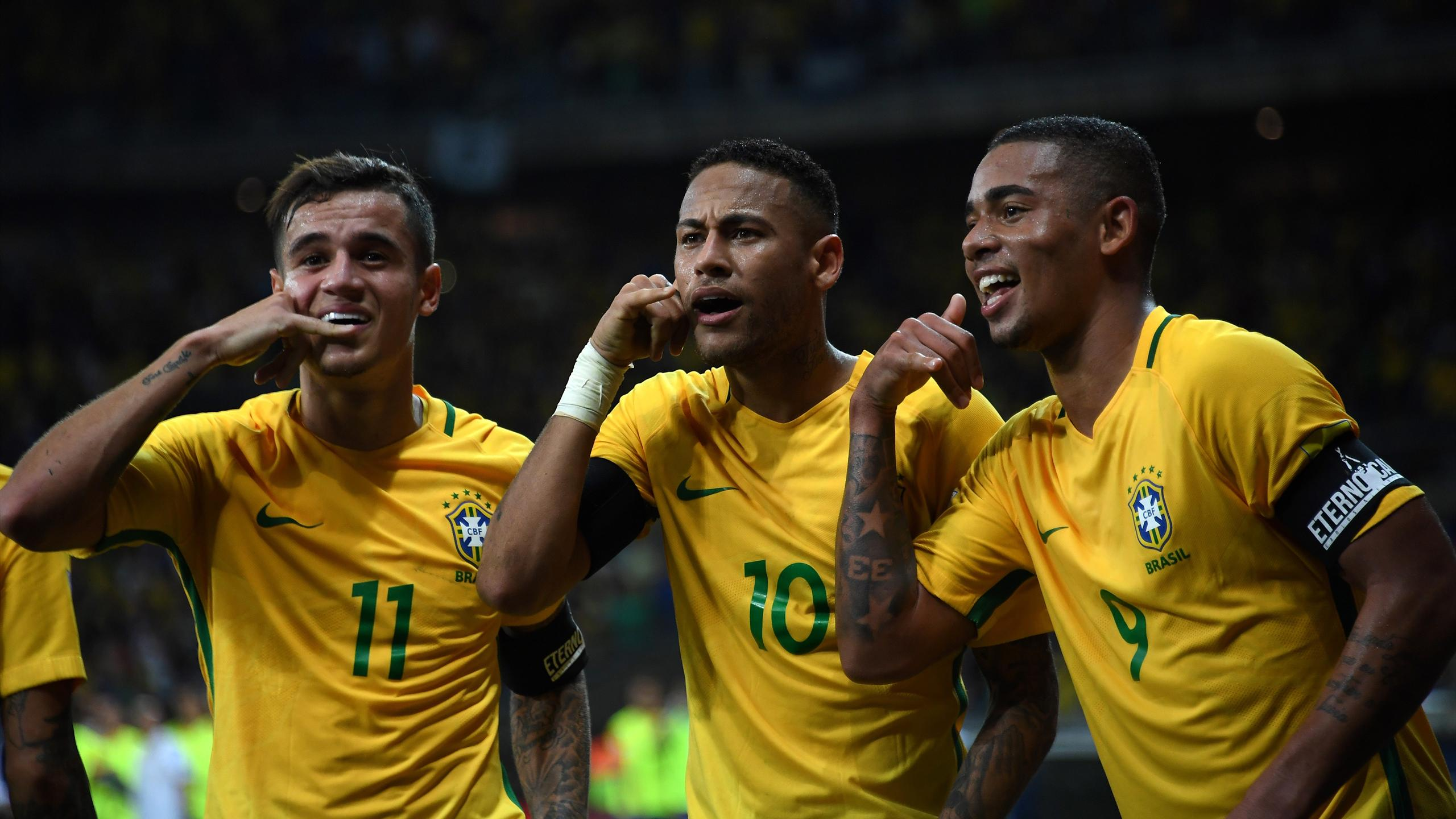 Neymar, Coutinho, Gabriel Jesus, Brazil, 2016 (AFP)