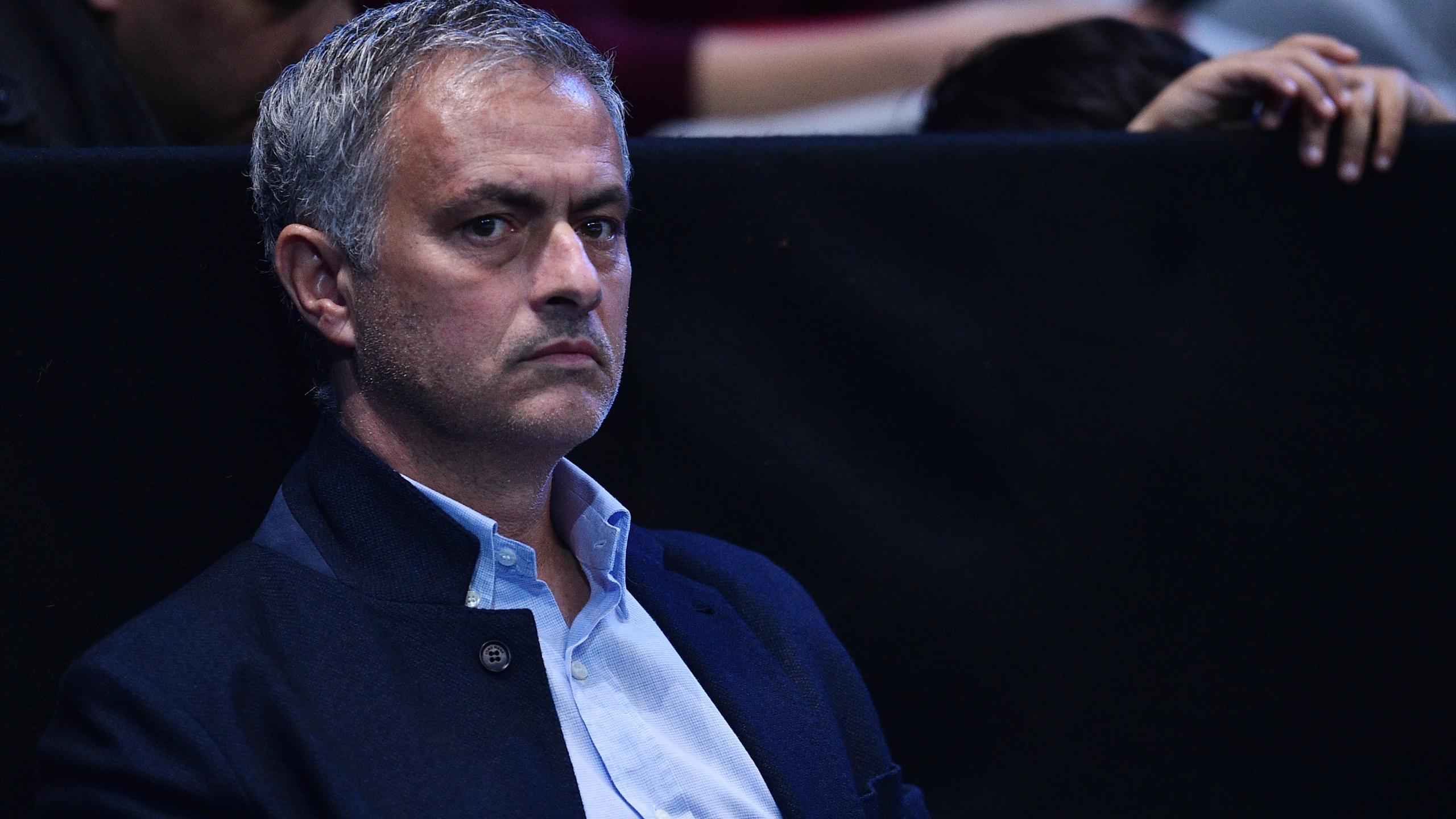Manchester United coach Jose Mourinho watches Serbia's Novak Djokovic playing Austria's Dominic Thiem