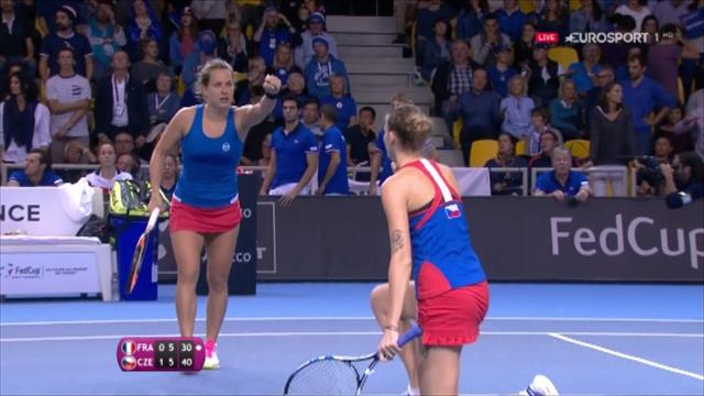 'Wow! How did she do that?' Pliskova pulls off stunning volley to win game