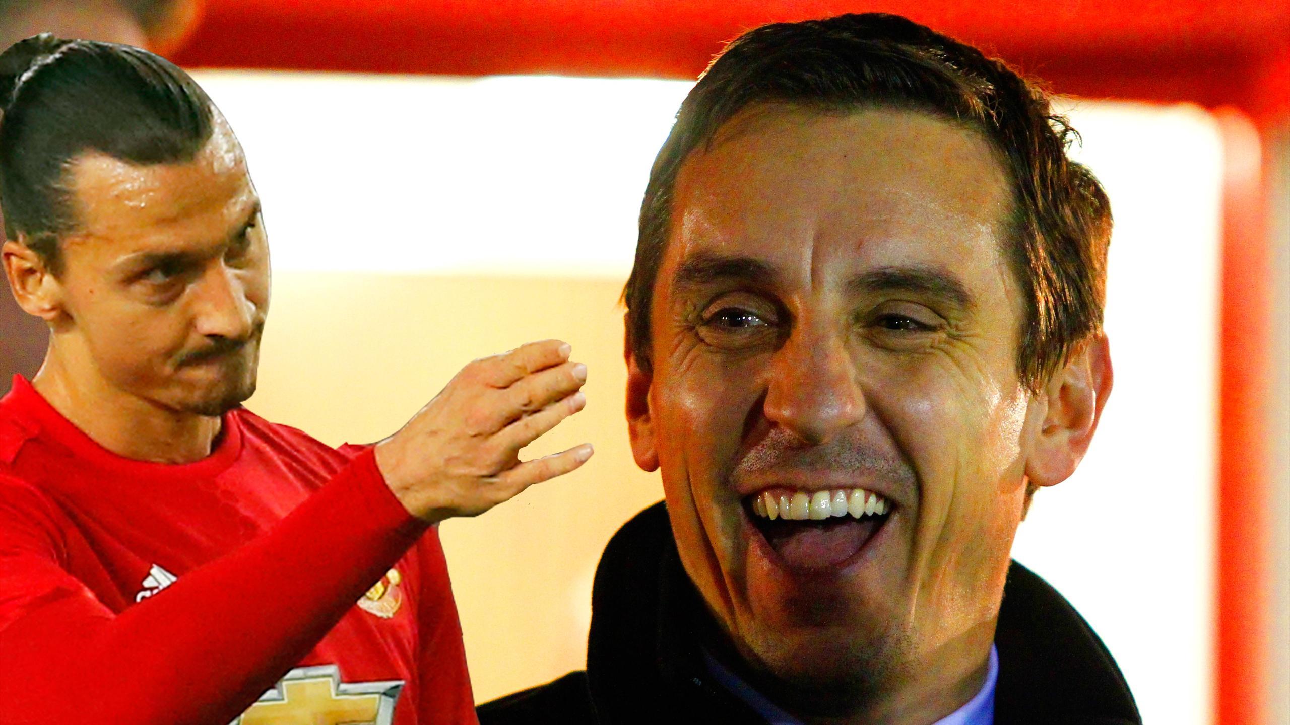 Manchester United striker Zlatan Ibrahimovic and Gary Neville