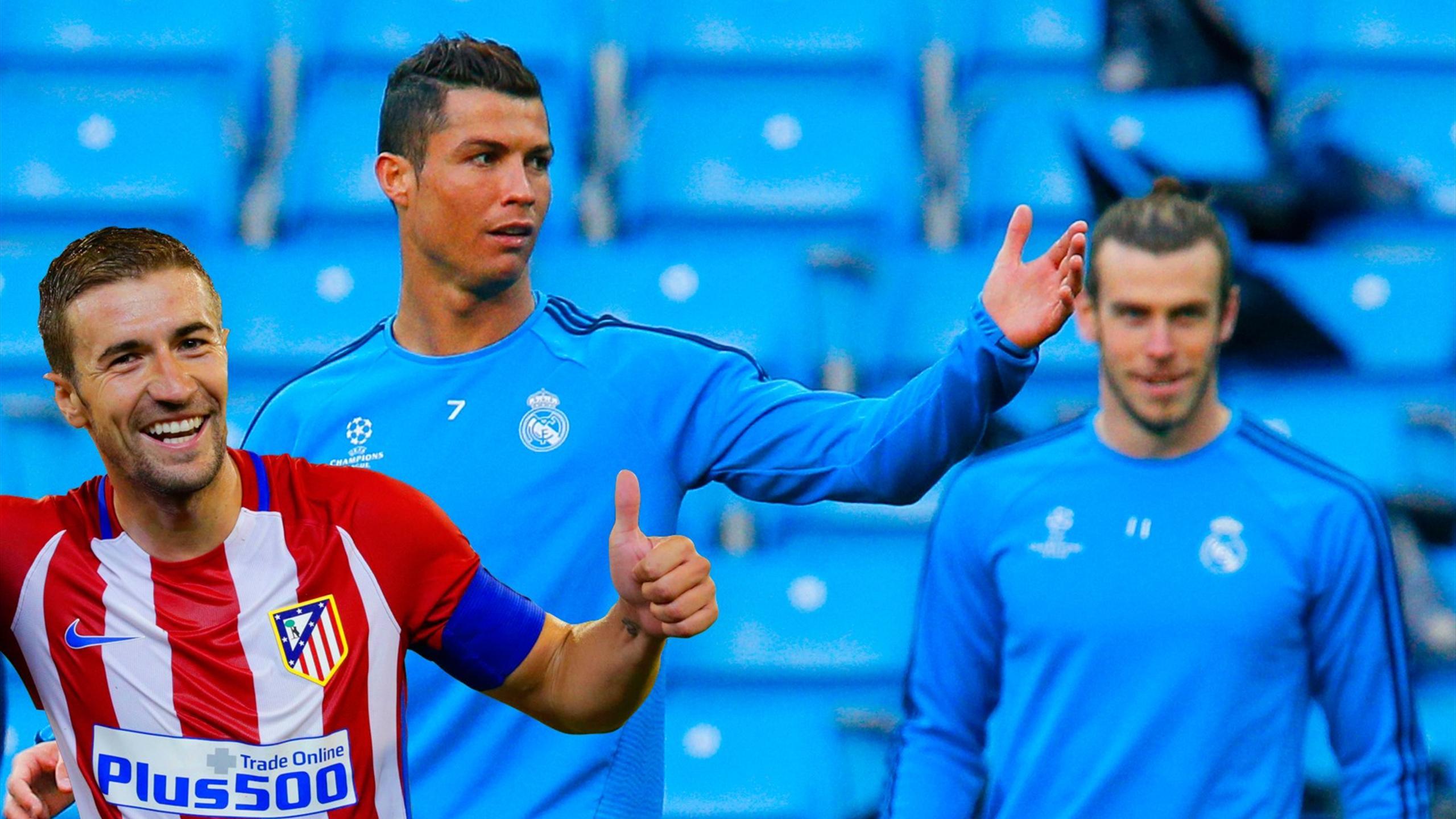Atletico Madrid's Gabi and Real Madrid's Cristiano Ronaldo and Gareth Bale