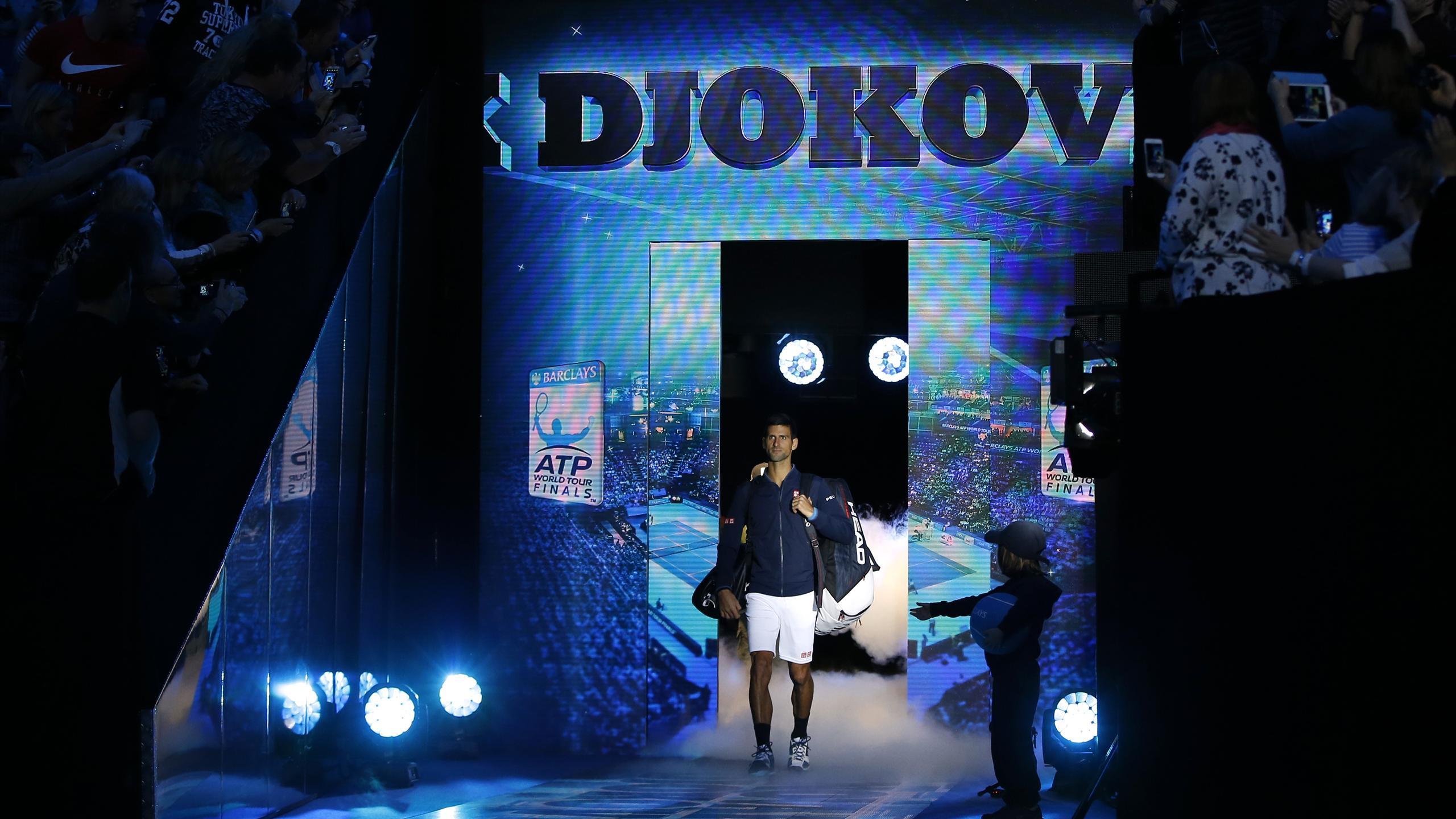 Novak Djokovic makes his entrance at the O2 Arena