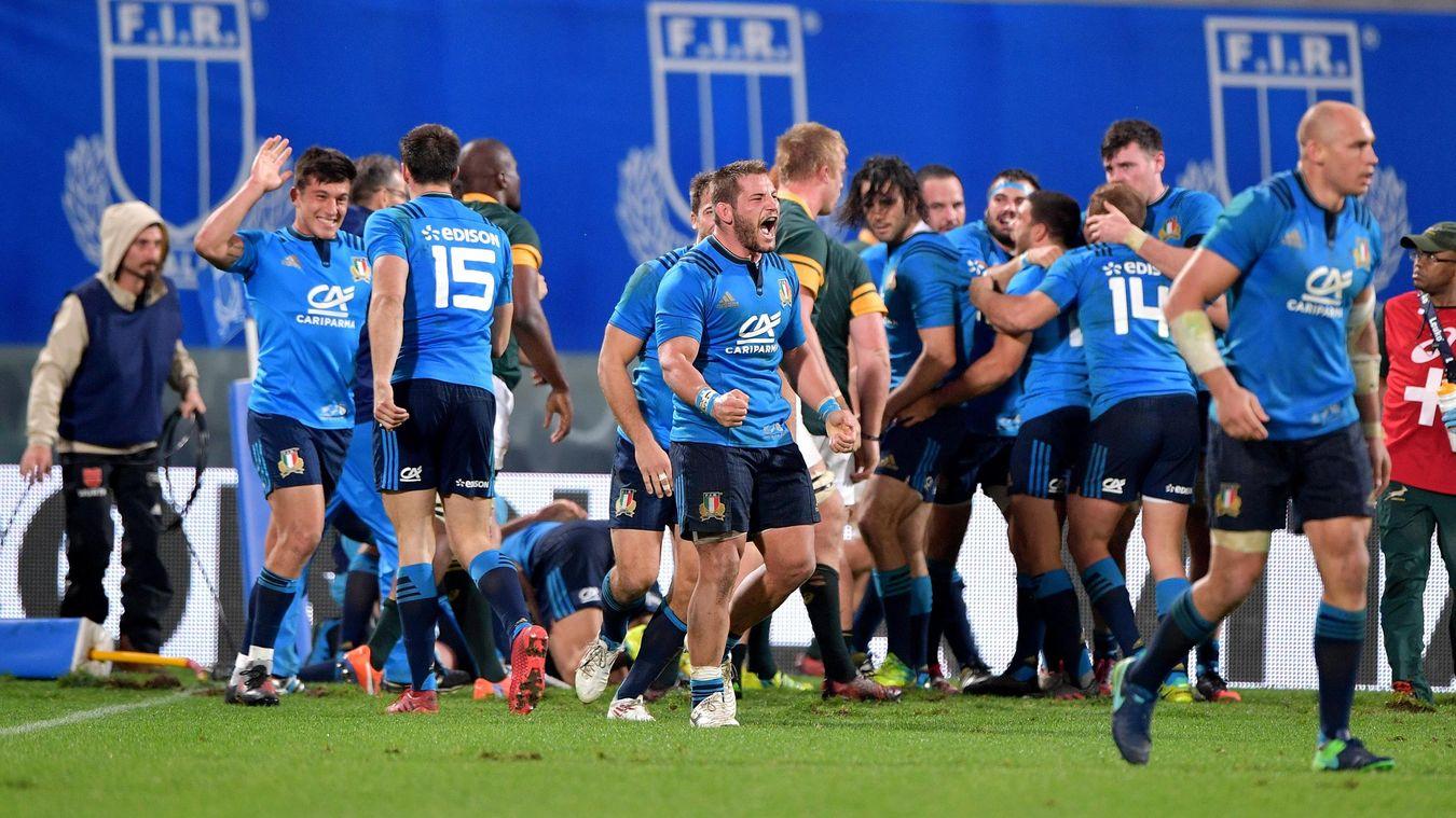 Italia-Sud Africa 20-18. La prima vittoria dell'Italrugby contro una nazionale dell'emisfero sud. Foto: LaPresse.