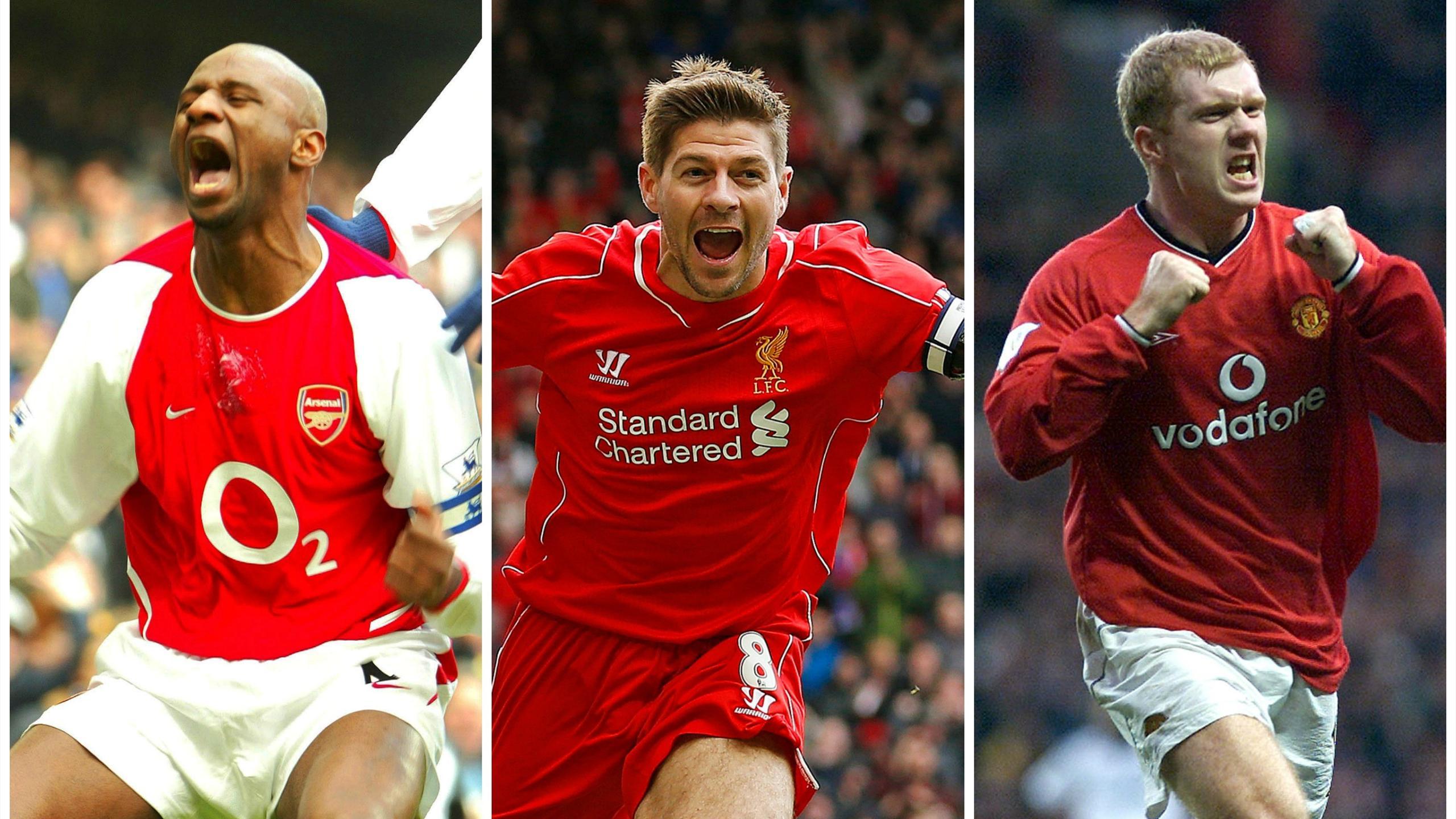 Patrick Vieira, Steven Gerrard and Paul Scholes