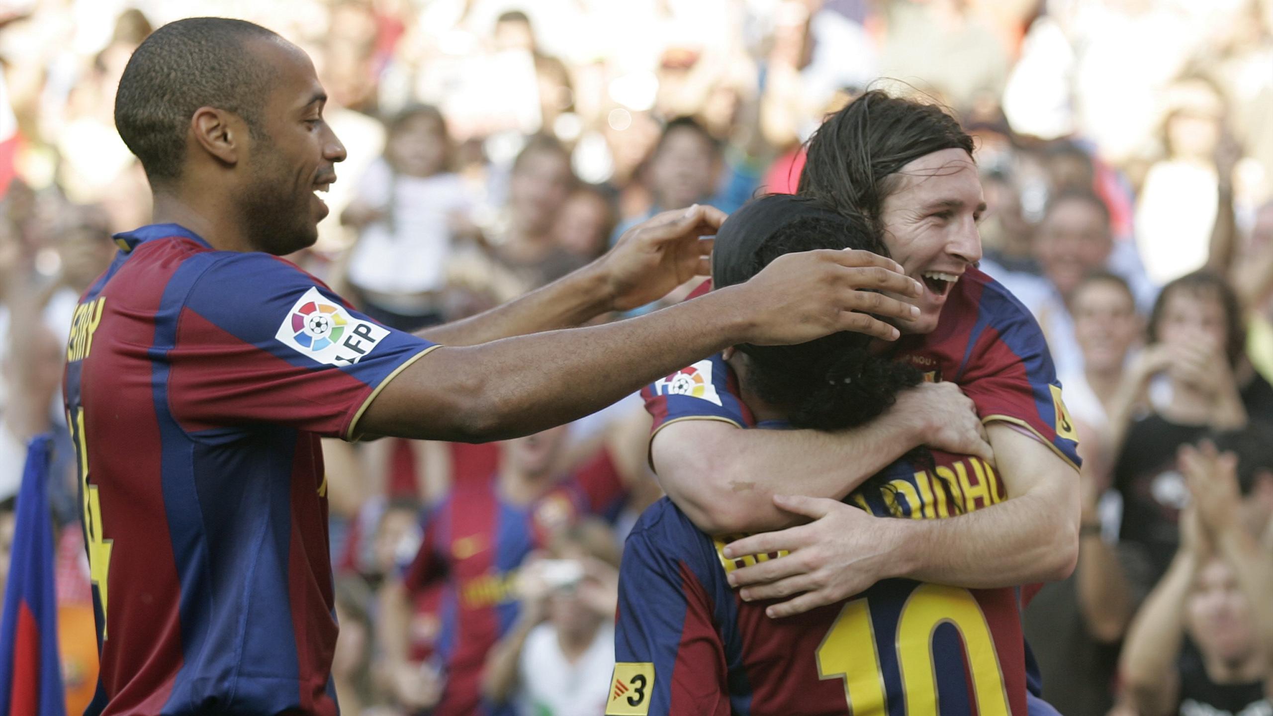 Le trio Henry - Ronaldinho - Messi avec le Barça en 2007