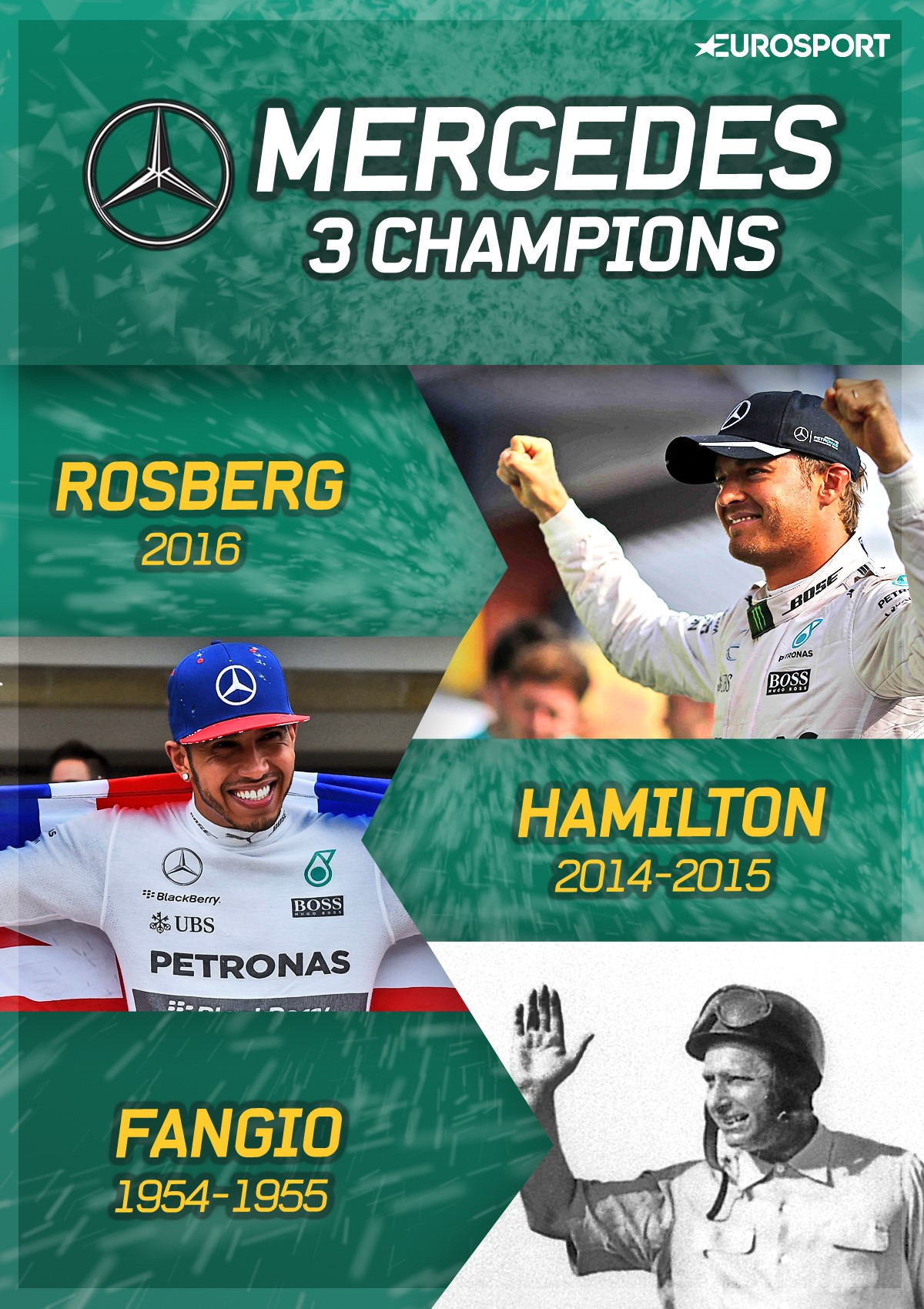 Fangio, Hamilton, Nico Rosberg, champions de Mercedes