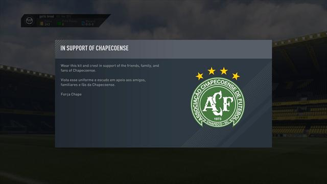 В FIFA 17 появились бесплатные форма и лого «Шапекоэнсе»