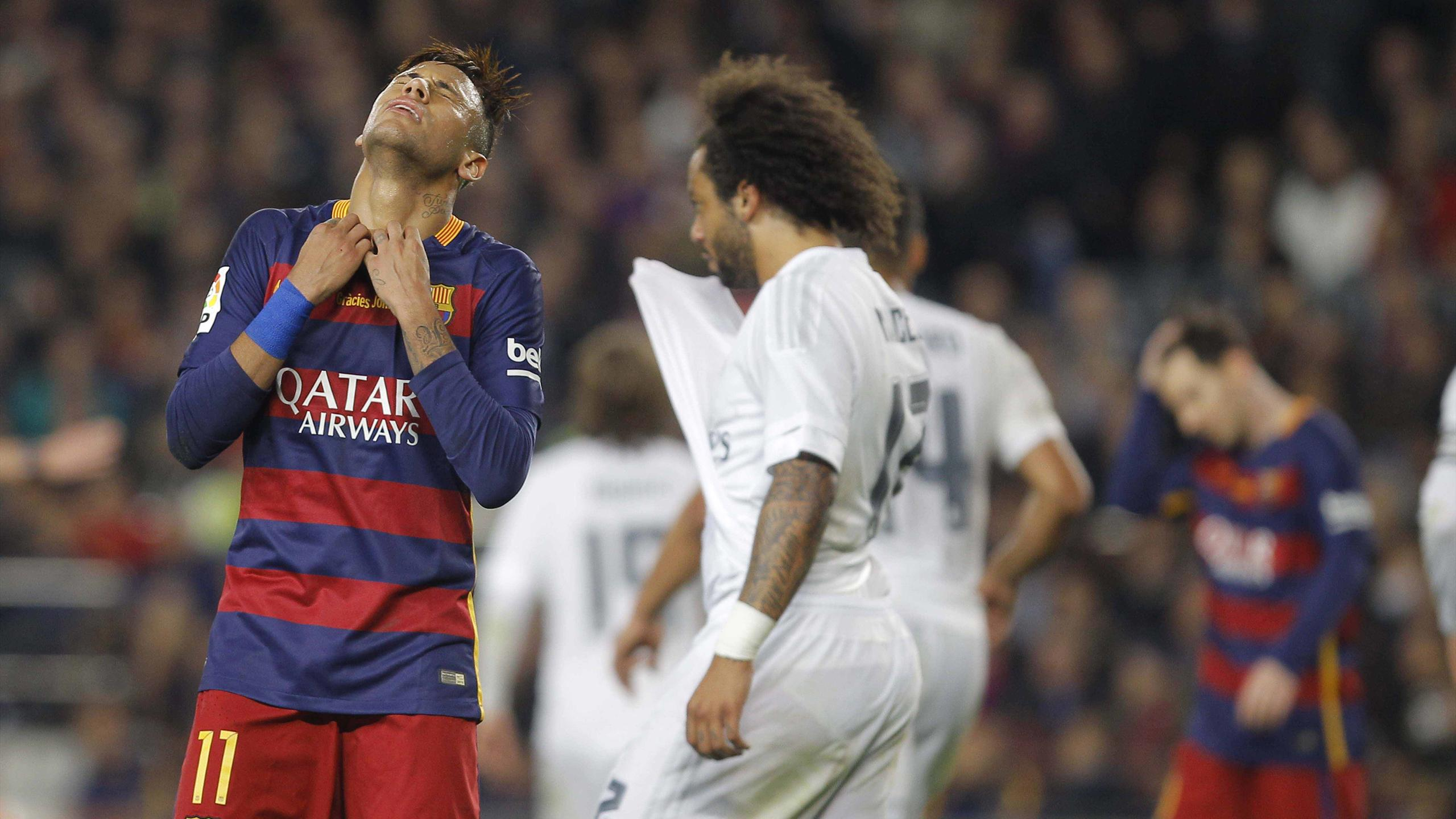 Neymar (FC Barcelone) et Marcelo (Real Madrid)